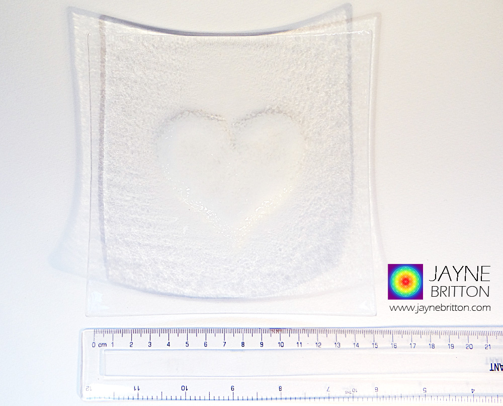White heart plate, fused glass plate with raised textured white love heart