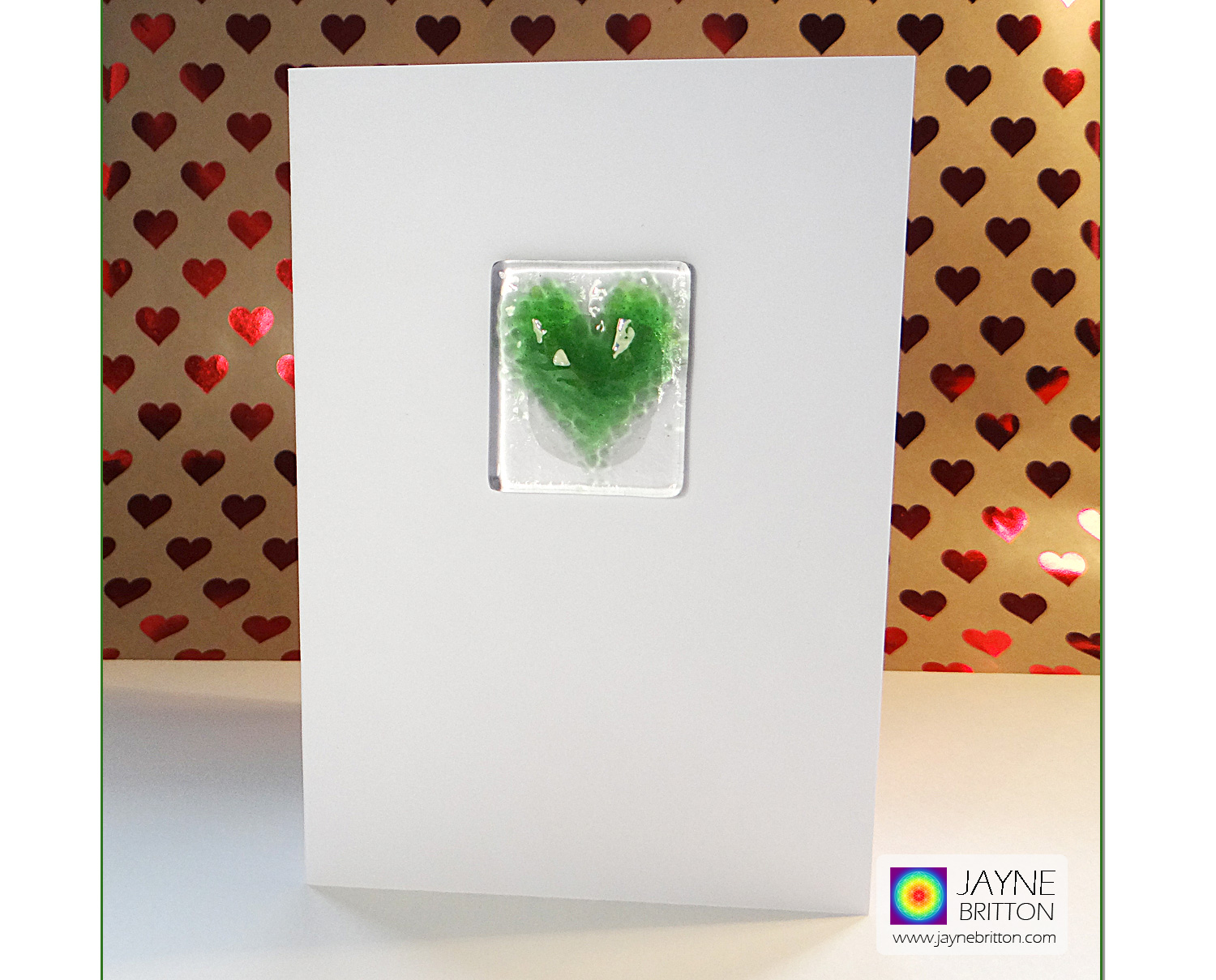 Fused glass greeting card - green glass