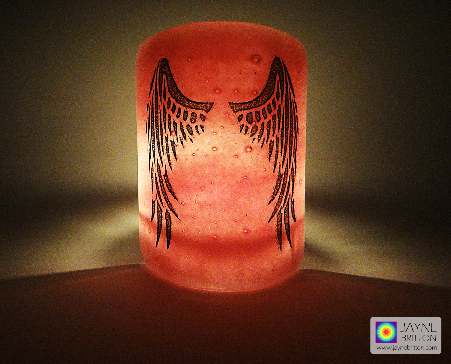 Angel Wings Sconce - mini light and candle screen - pink blend