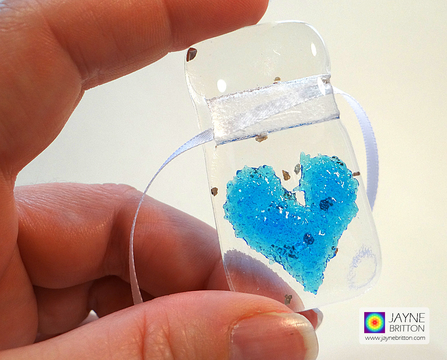 Turquoise heart light catcher