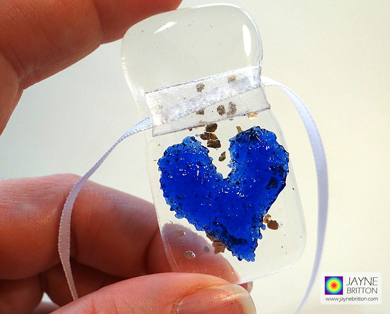 Indigo blue heart light catcher