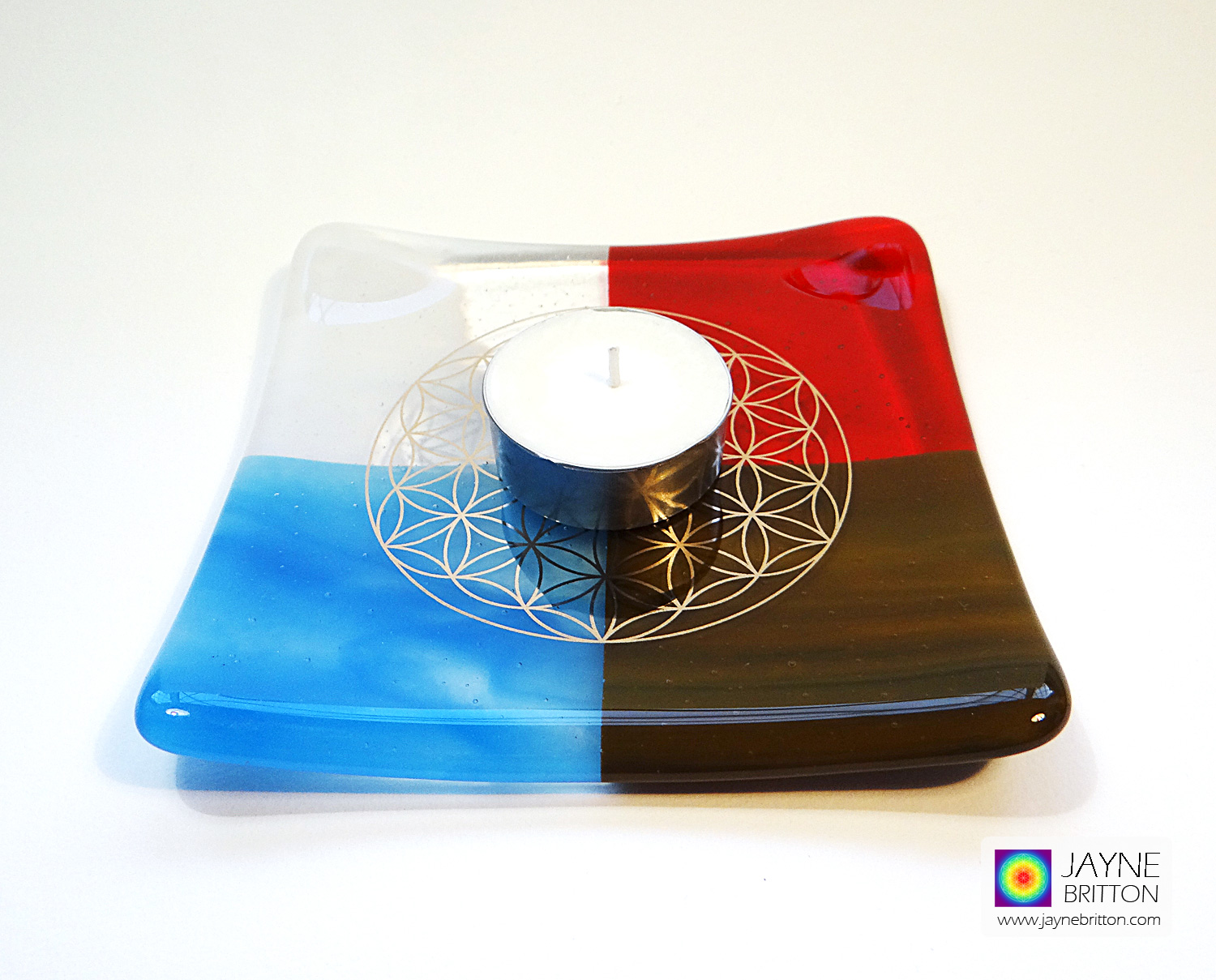 Platinum Flower of Life plate - four elements