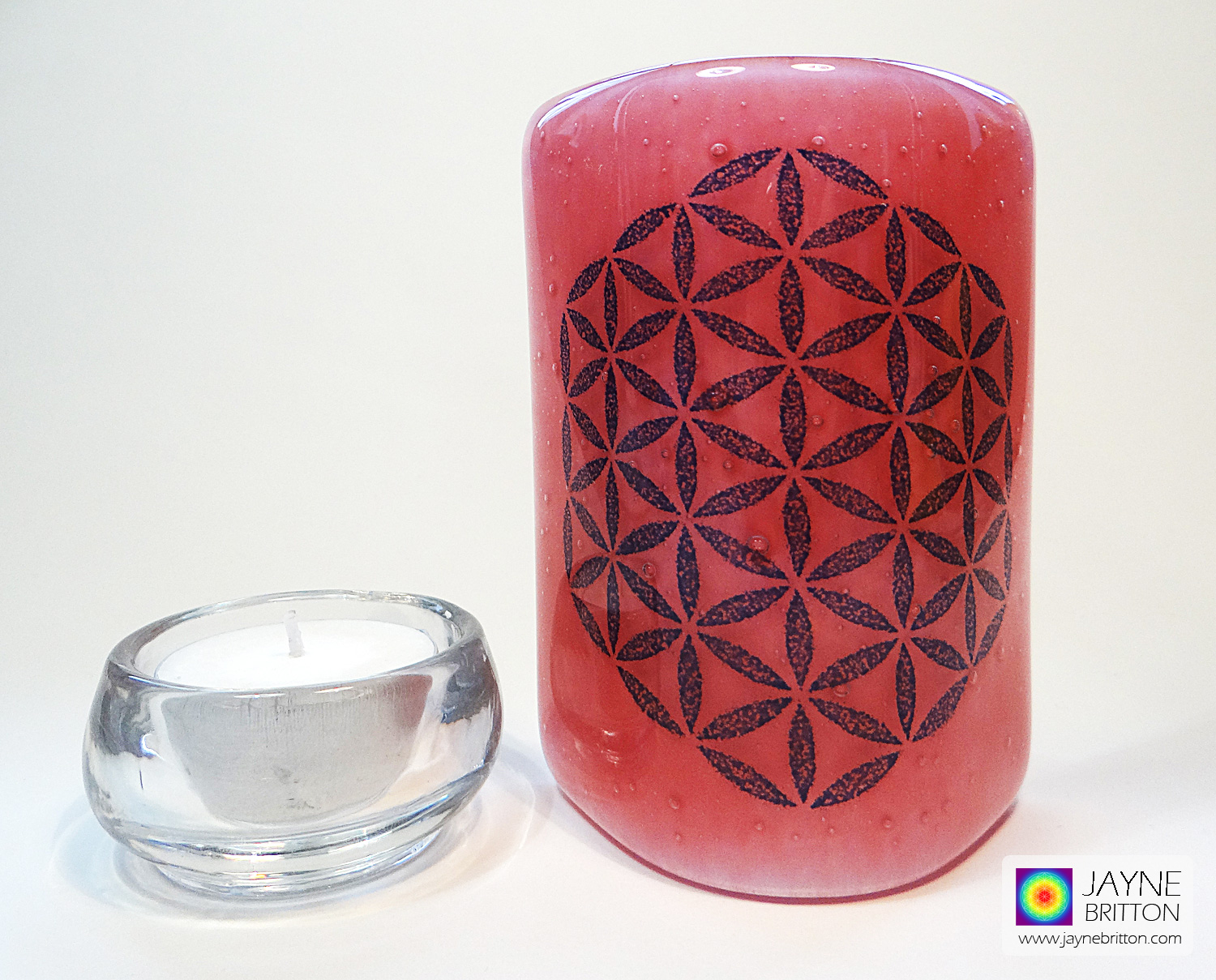 Flower of Life Sconce - curved fused glass screen - magenta pink