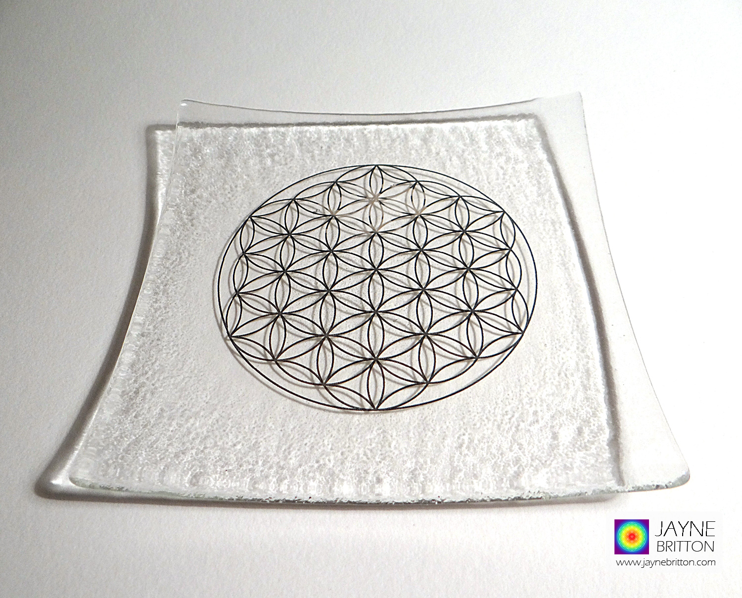 Platinum Flower of Life clear fused glass plate