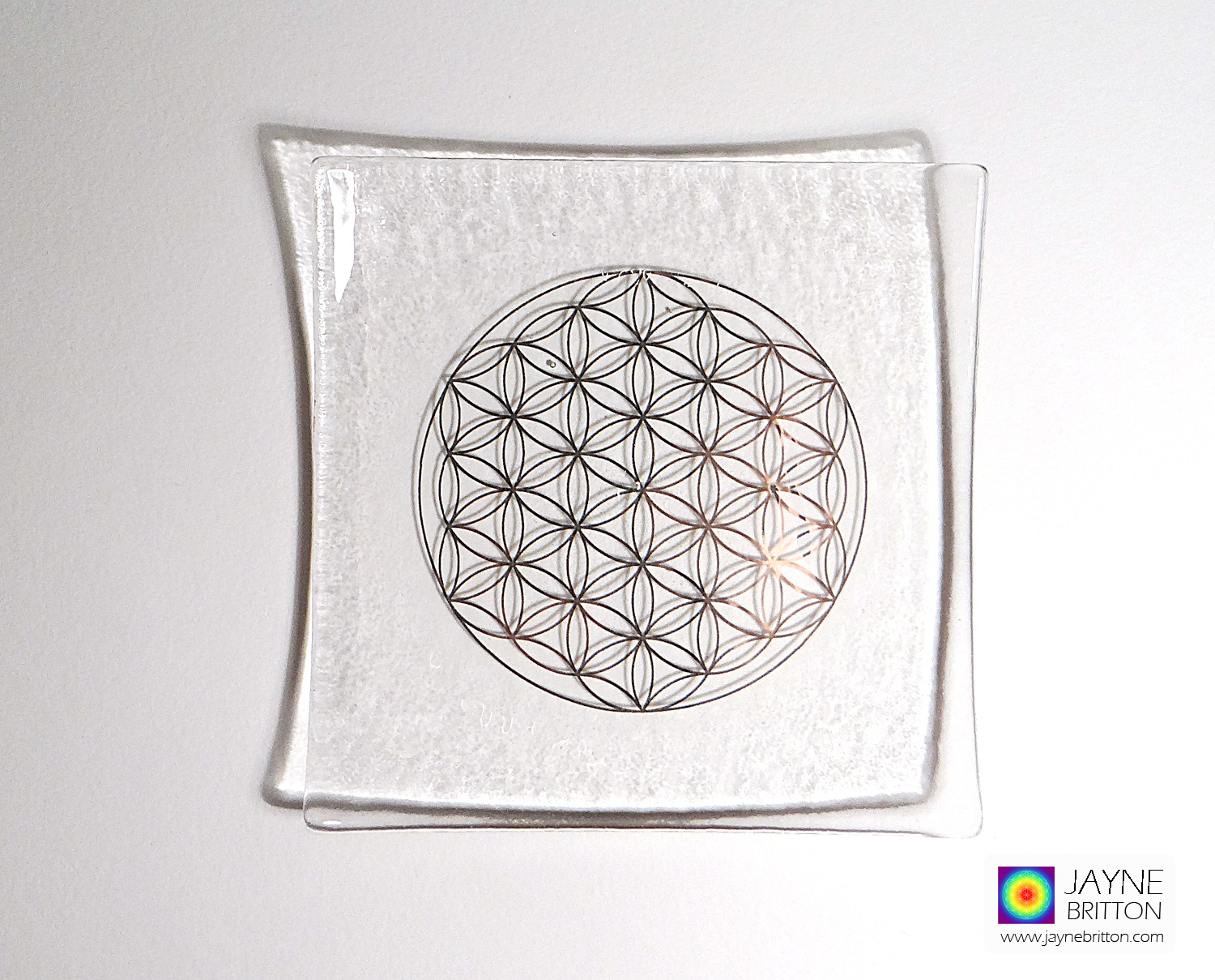 Platinum Flower of Life fused glass plate