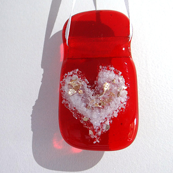 Red fused glass light catcher with glittery white heart
