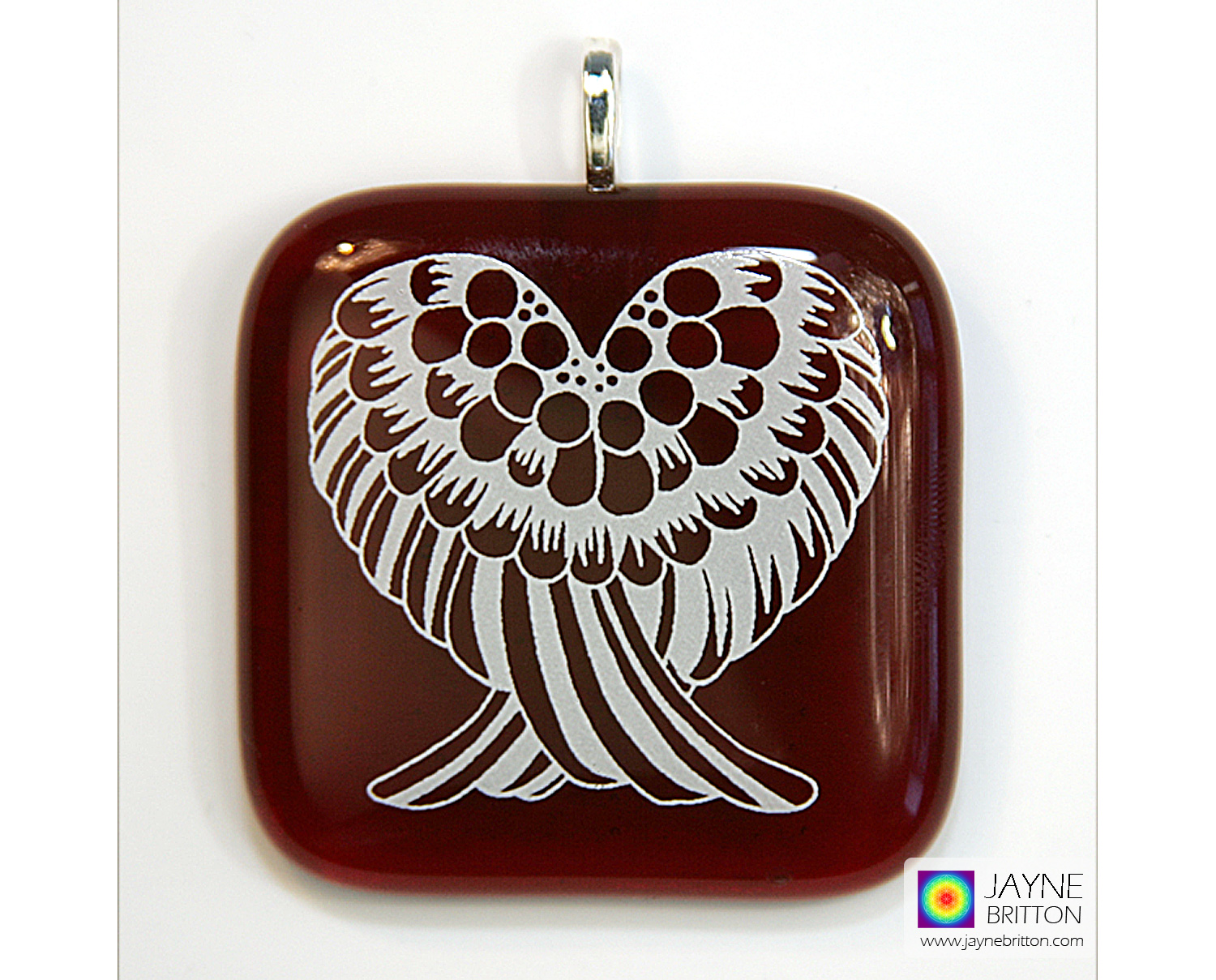 Angel wings pendant - deep red fused glass