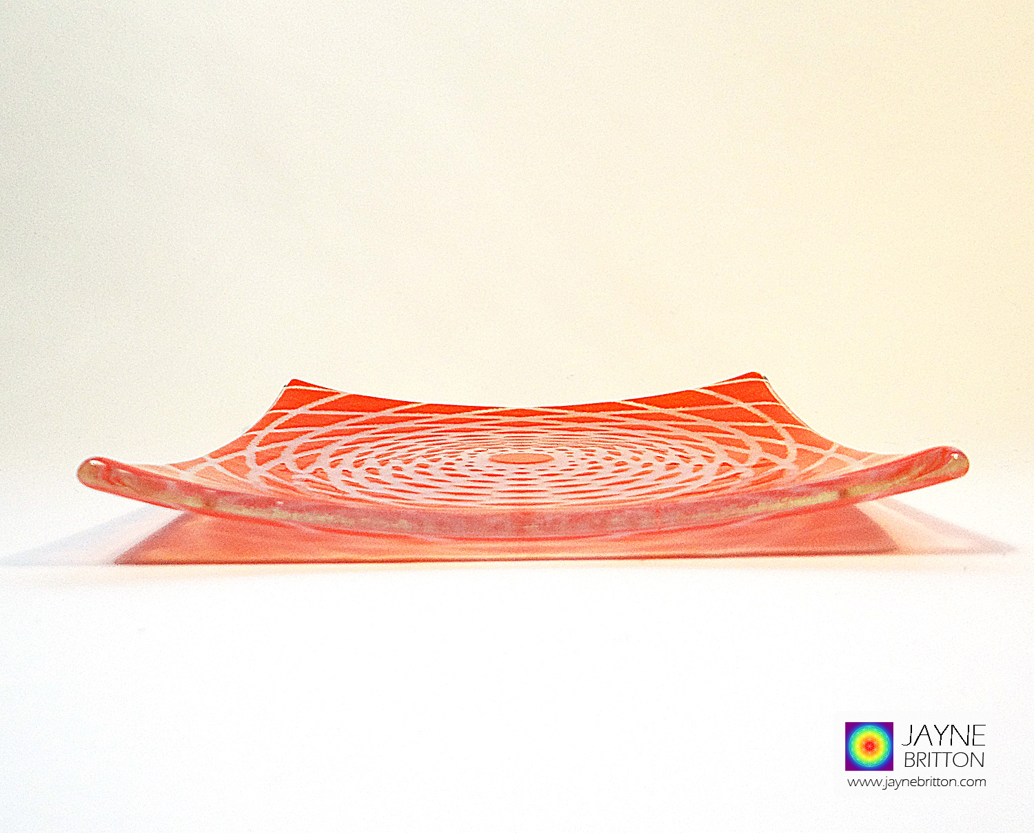 Fibonnacci spiral fused glass plate - orange