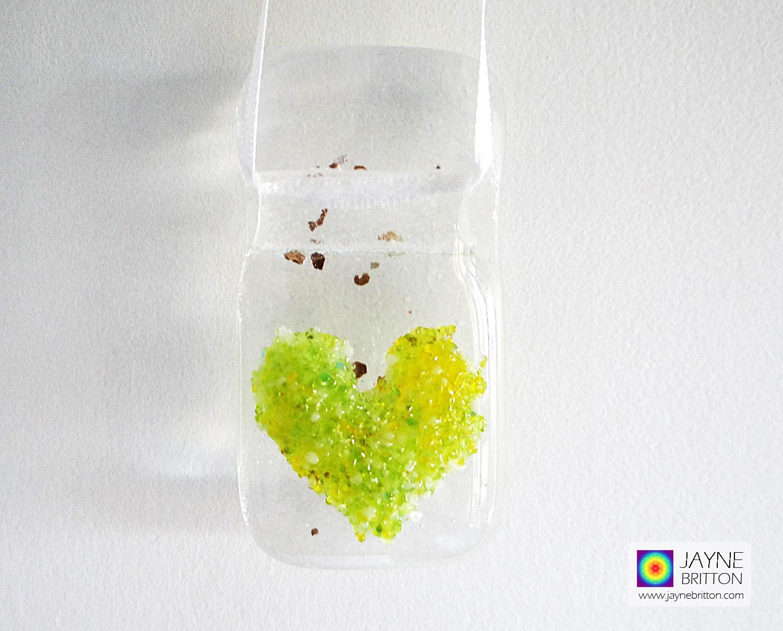 Lime green blended fused glass heart light catcher