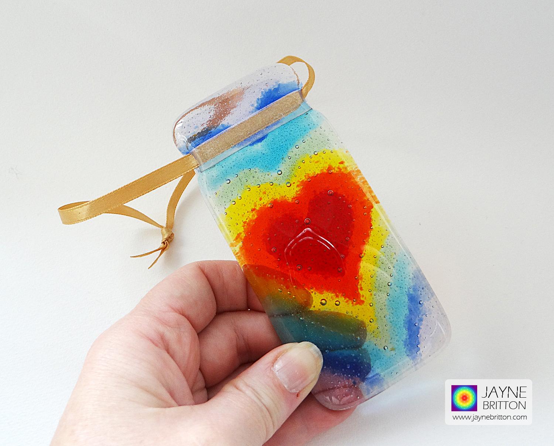 Fused glass 7 chakra heartscape light catcher