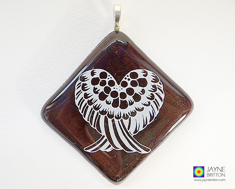 Angel wings pendant - sparkling bronze glass - diamond shape