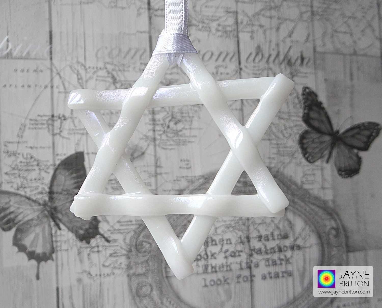 Iridescent white star, light catcher, hanging decoration, six pointed star