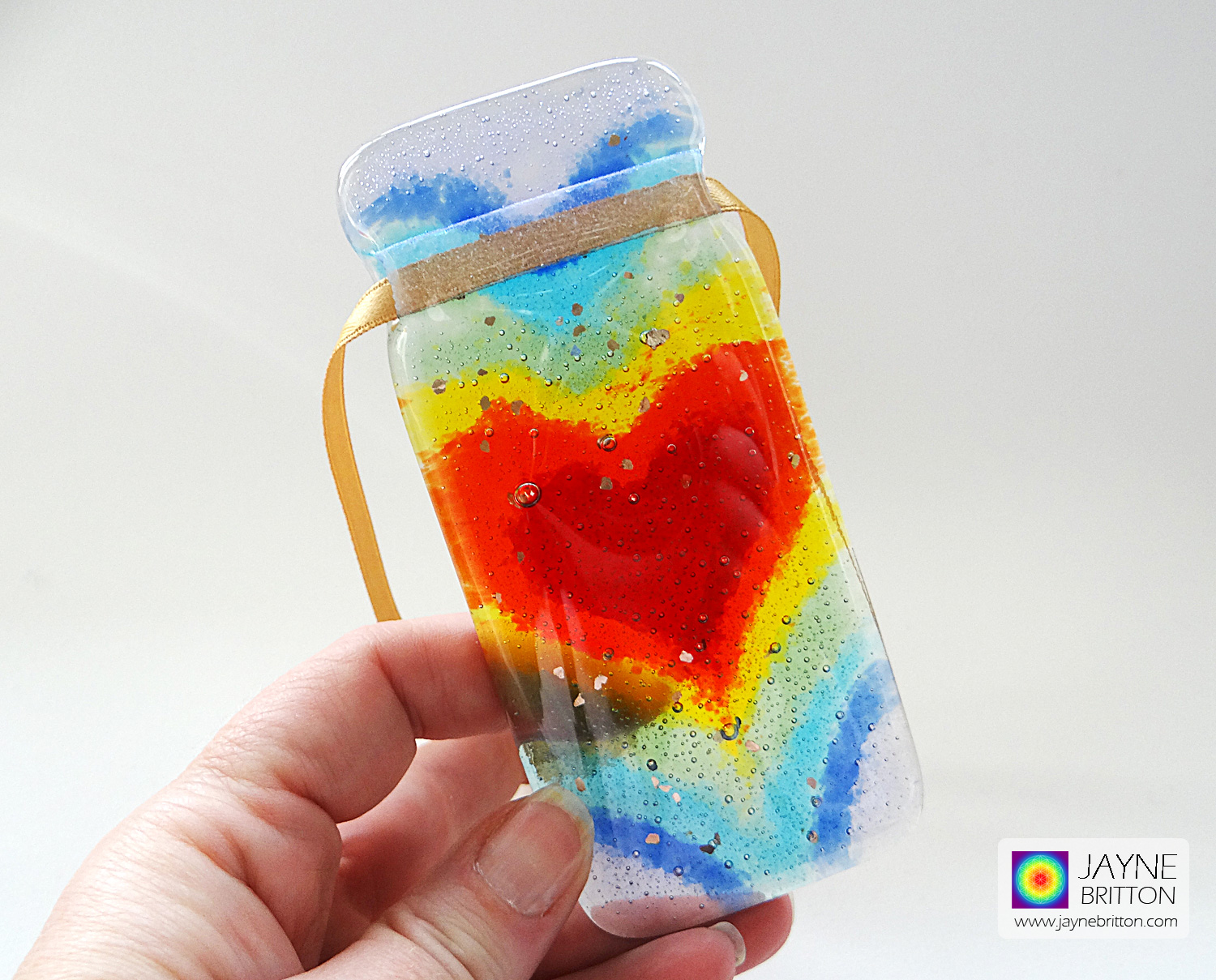 Fused glass 7 chakra heartscape light catcher - with sparkly mica