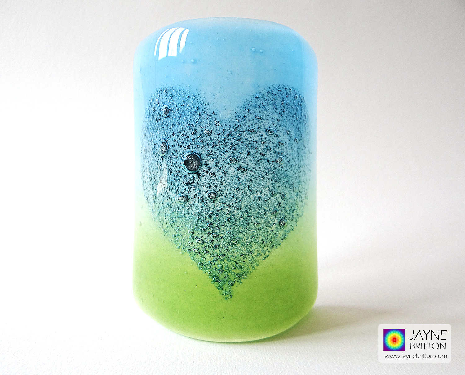 Bubbly Heart Sconce - curved fused glass panel - blue and green blend - option 2