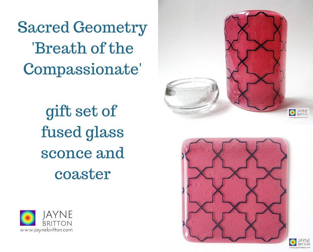 Gift set, Pink and Blue geometric pattern sconce and coaster, light and candle screen, fused glass, Breath of Compassionate, sacred geometry