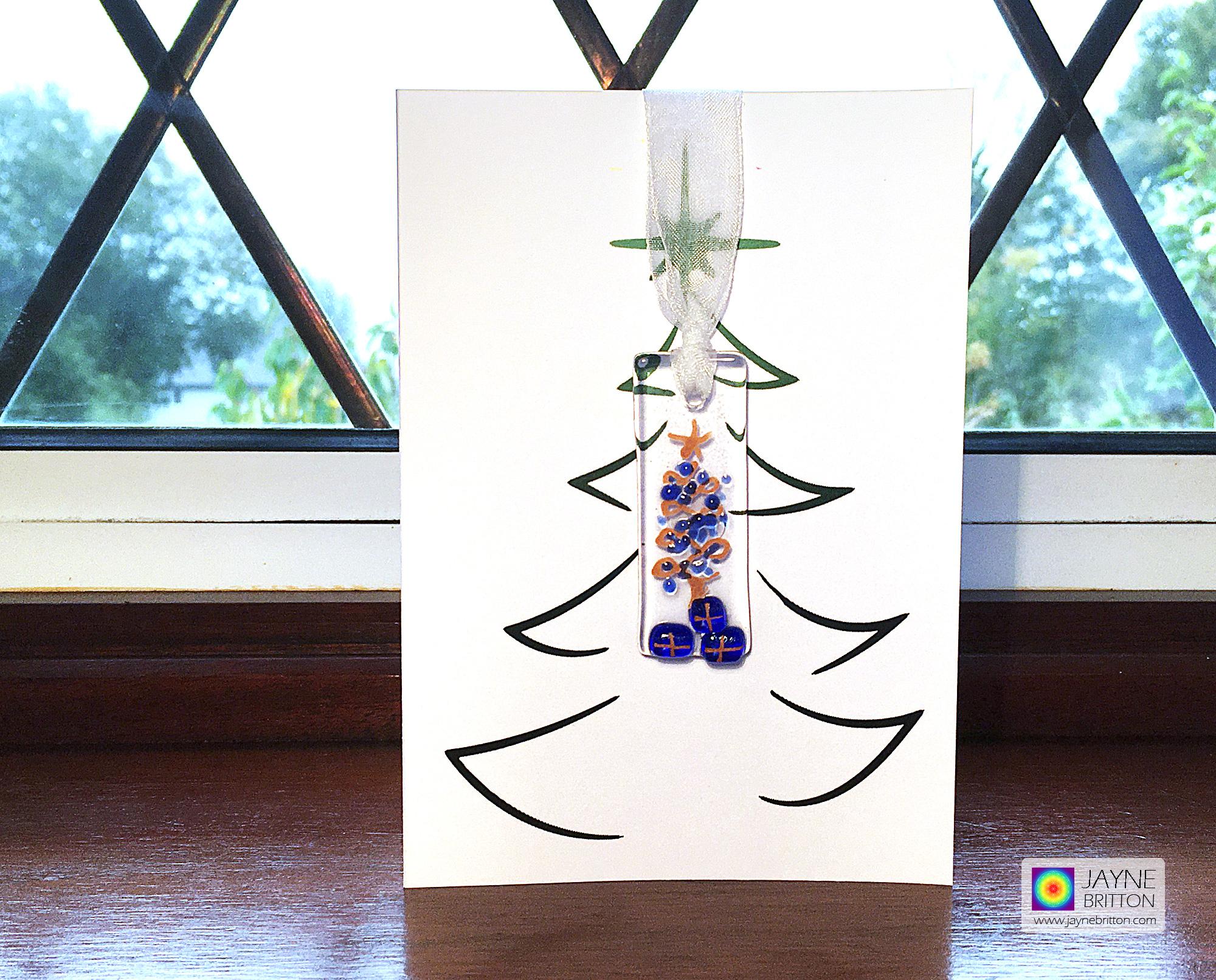 Fused glass, Handmade Christmas card, indigo blue baubles, festive card for mum, special xmas card, blank inside, best friend, family