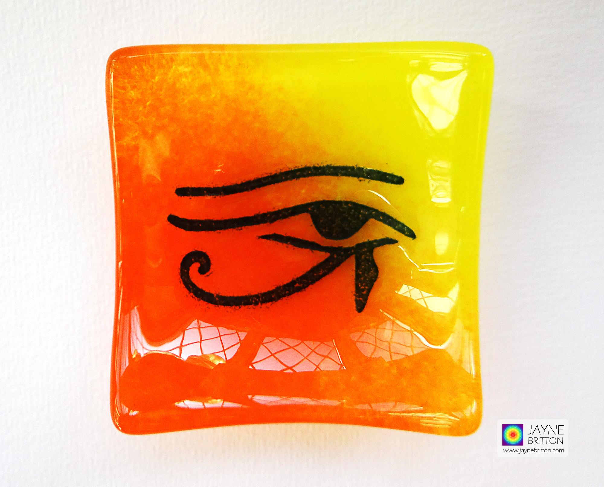 Eye of Horus bowl in yellow orange blended fused glass