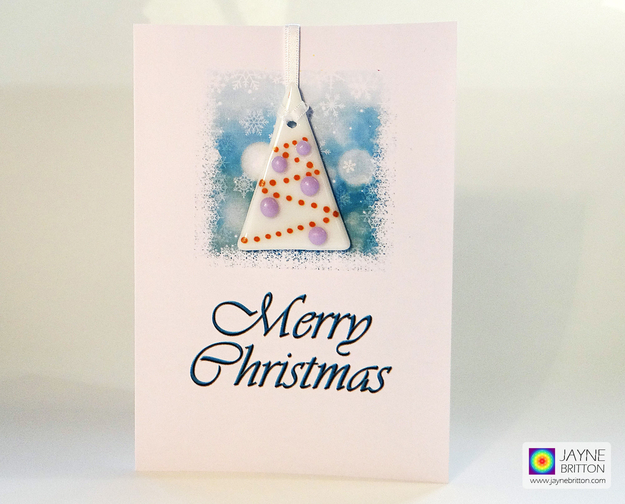 Fused glass Christmas Tree decoration gift card - white tree, purple baubles