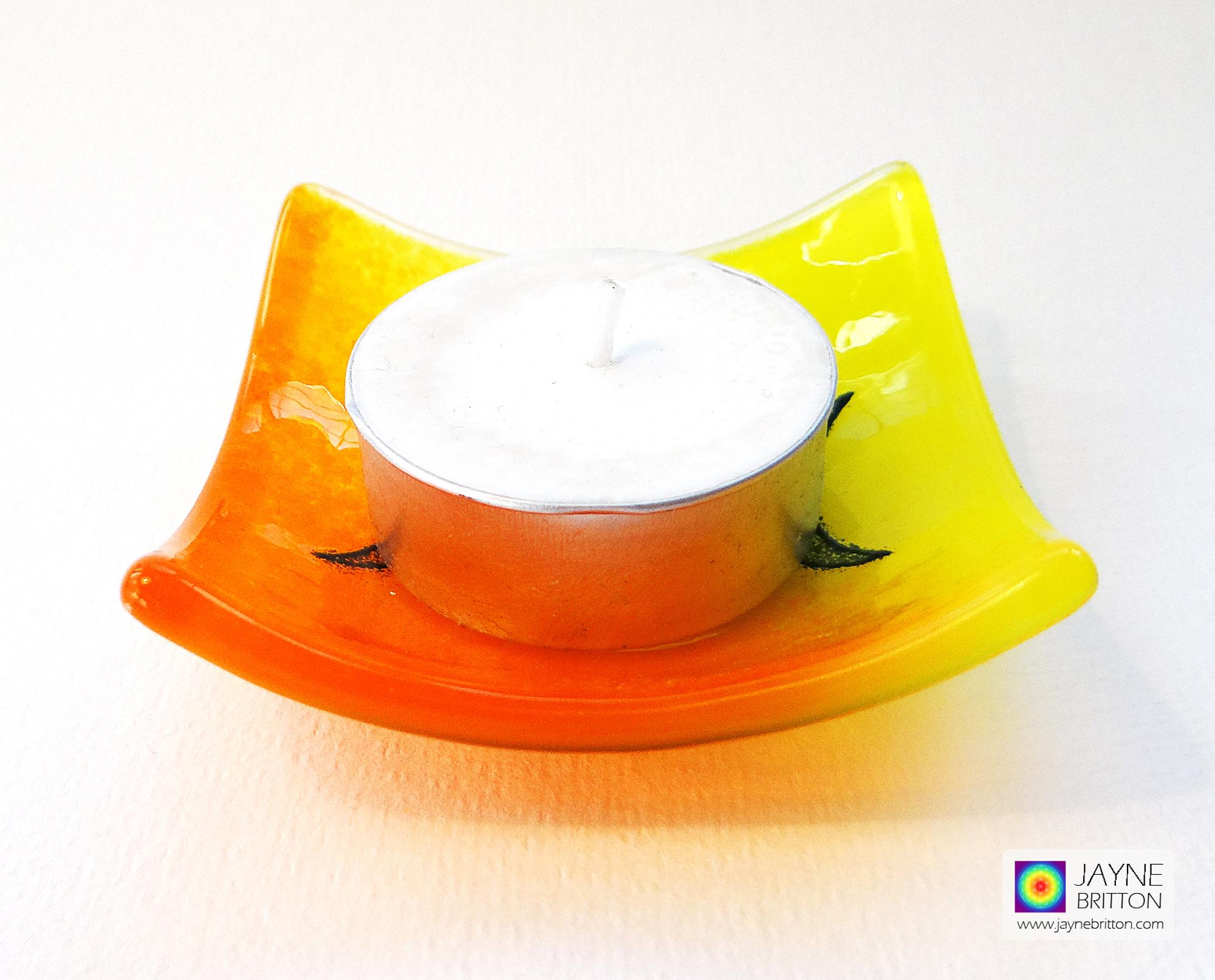 Triple Moon Goddess Bowl - orange and yellow blend