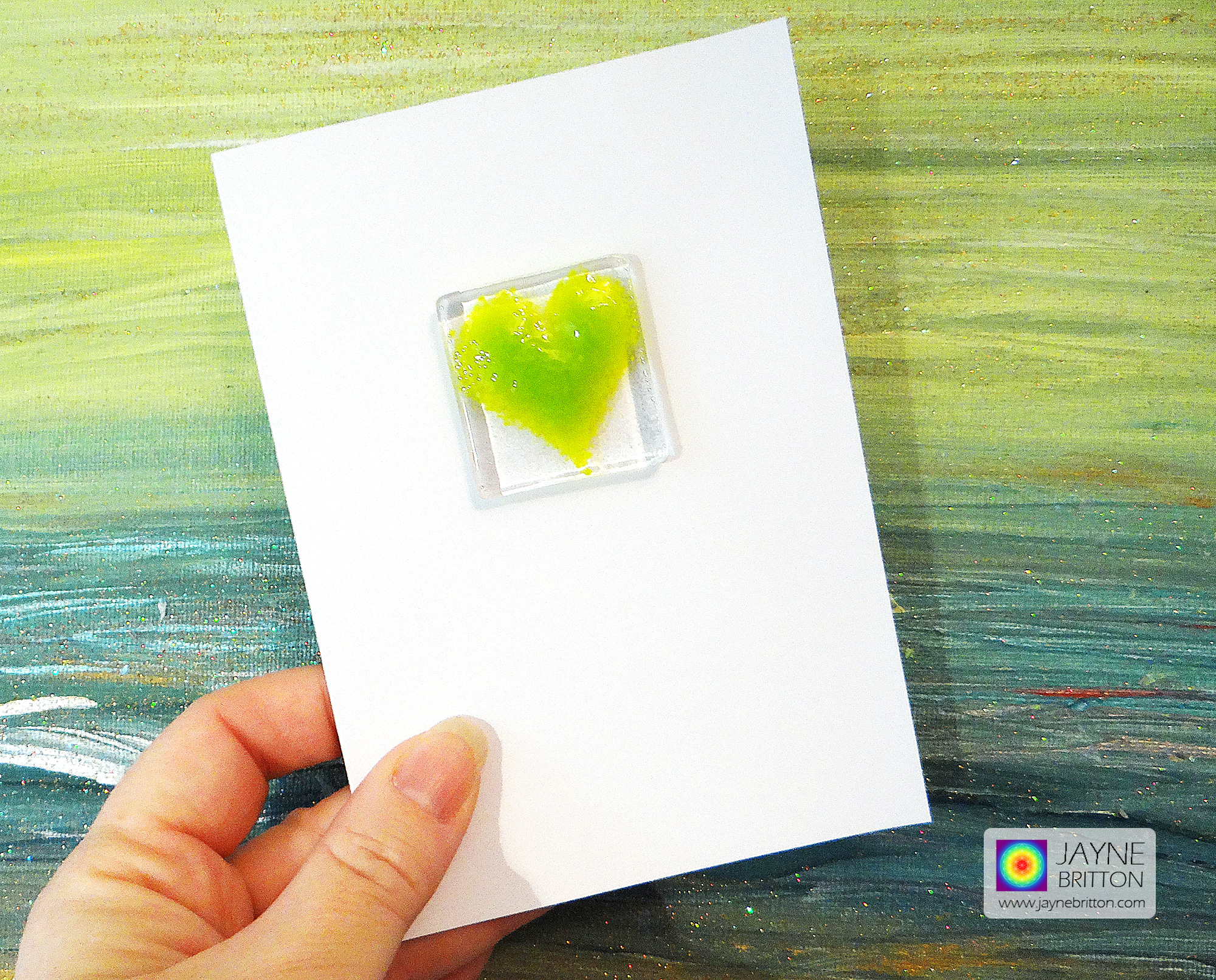Fused glass greeting card - green heart - blank inside