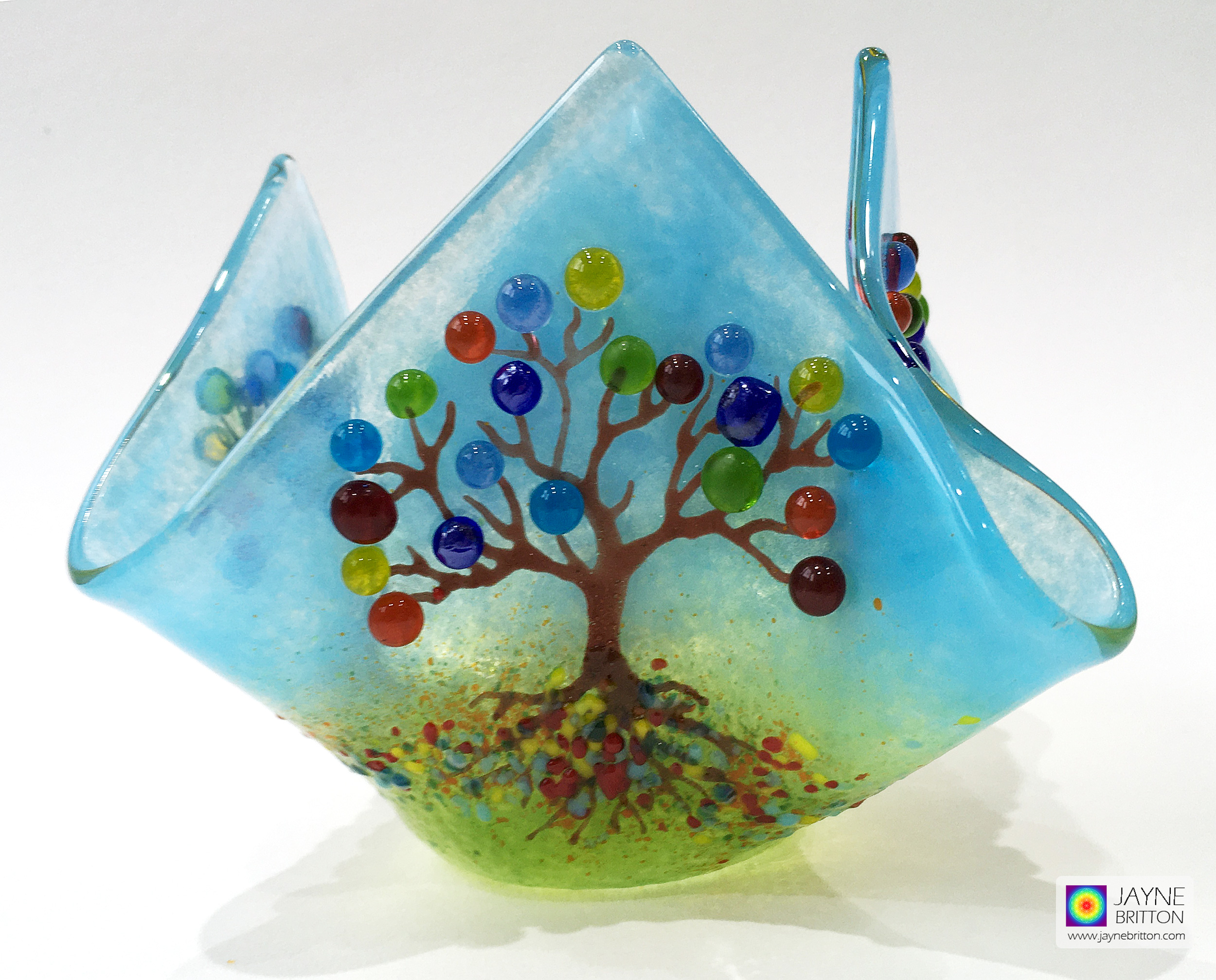 Candle vase - Tree of Life - seven chakra blossom trees