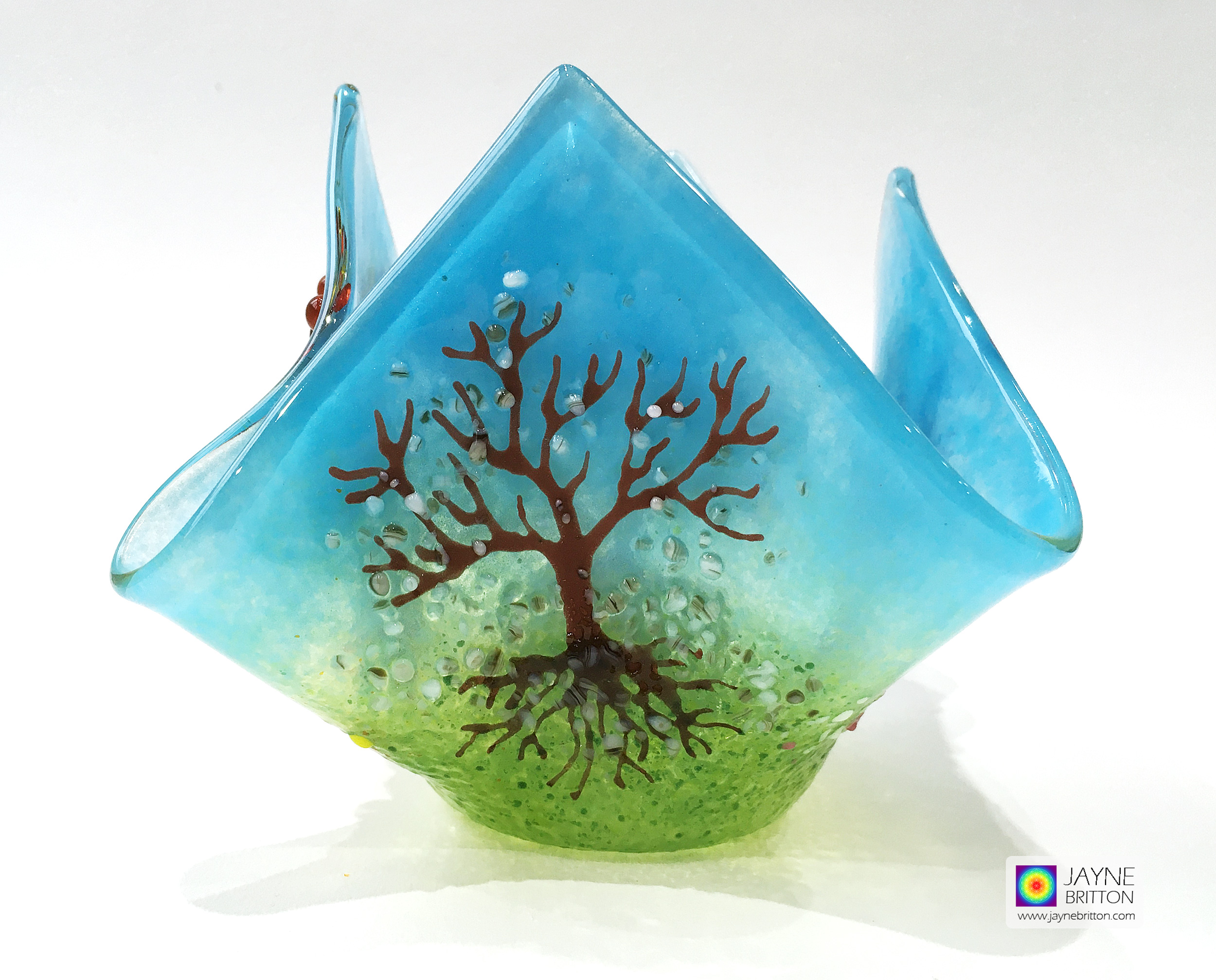 Candle Vase - Tree of Life - four seasons blossom trees