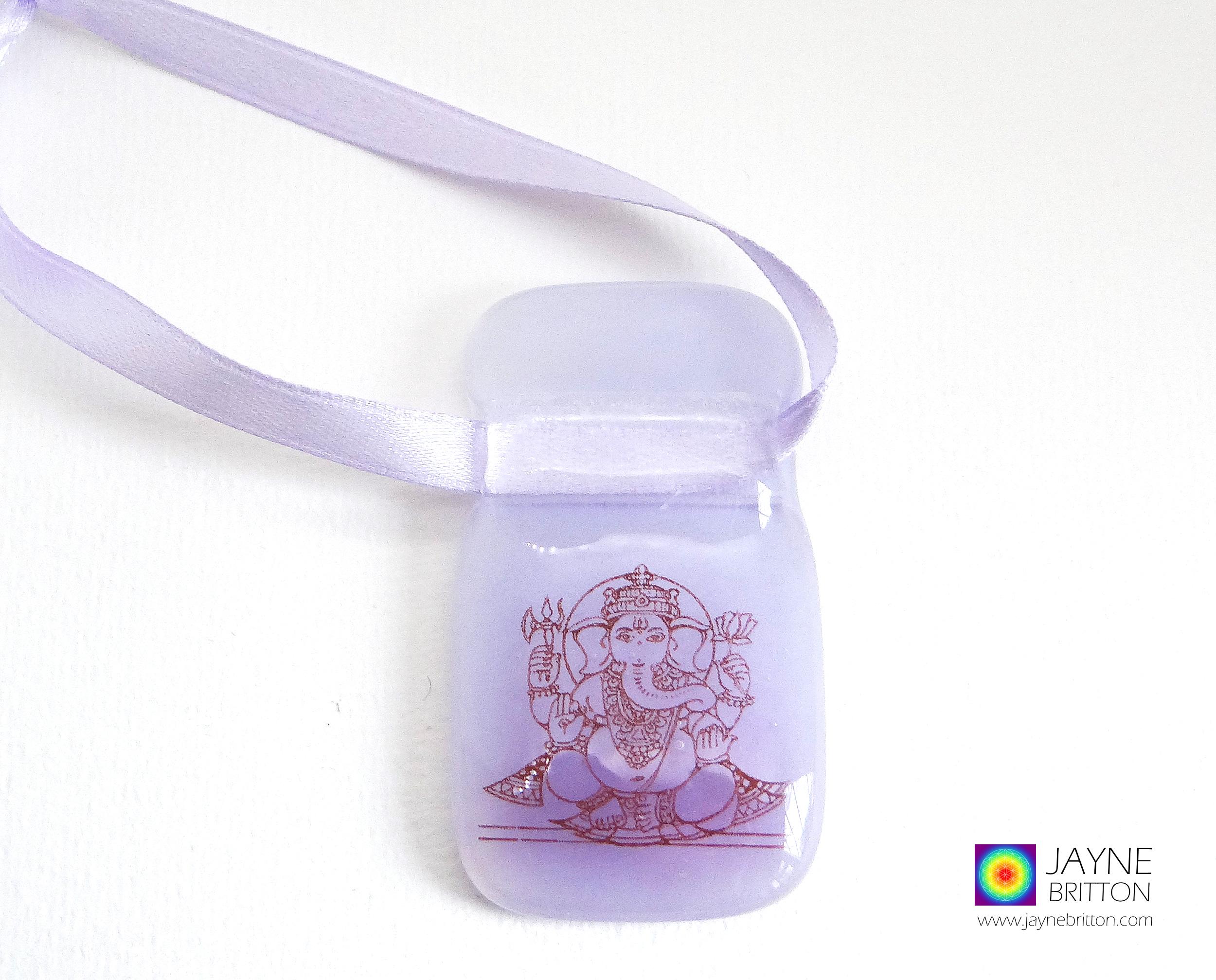 Purple Ganesh fused glass light catcher