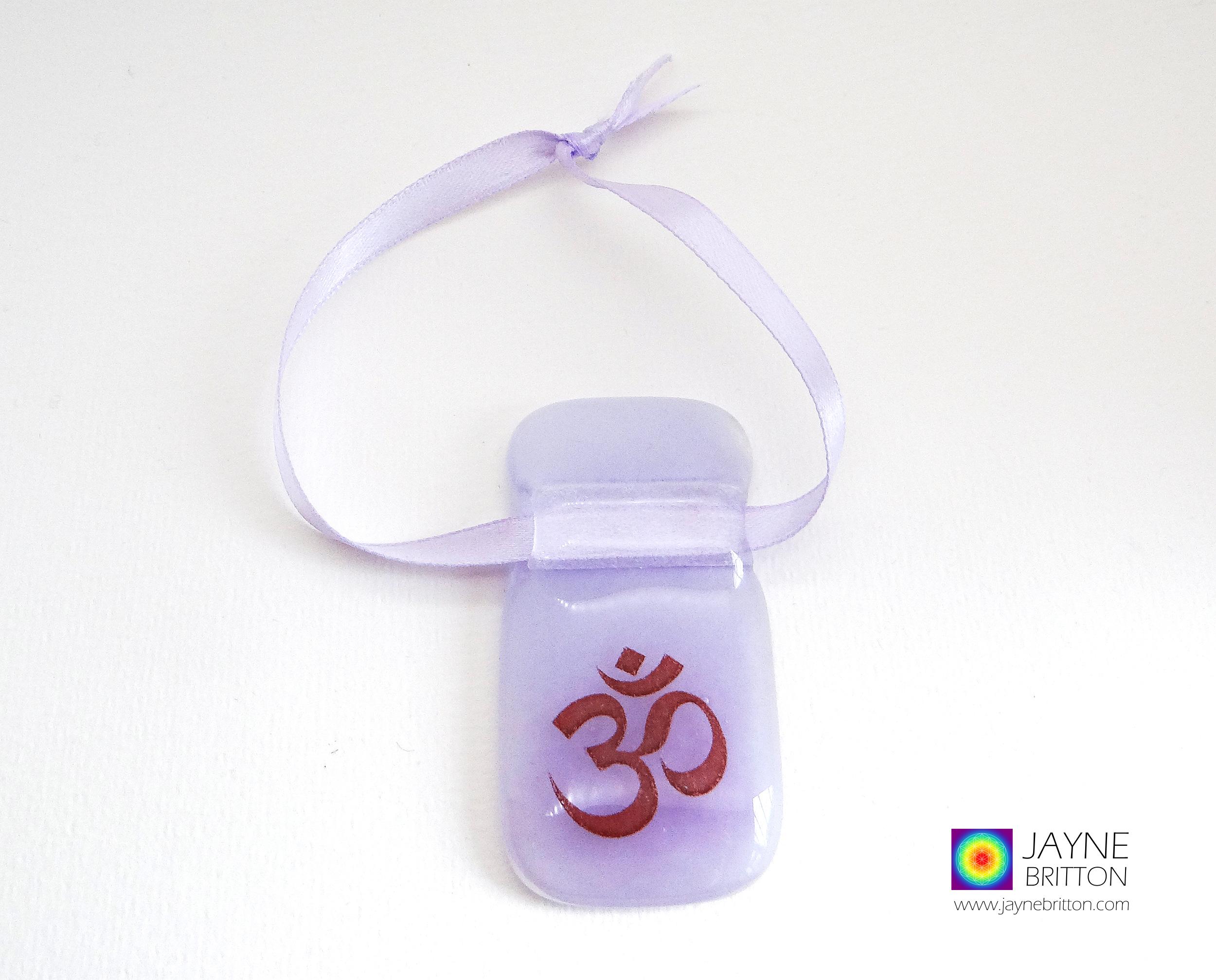 Violet purple Om handmade fused glass light catcher
