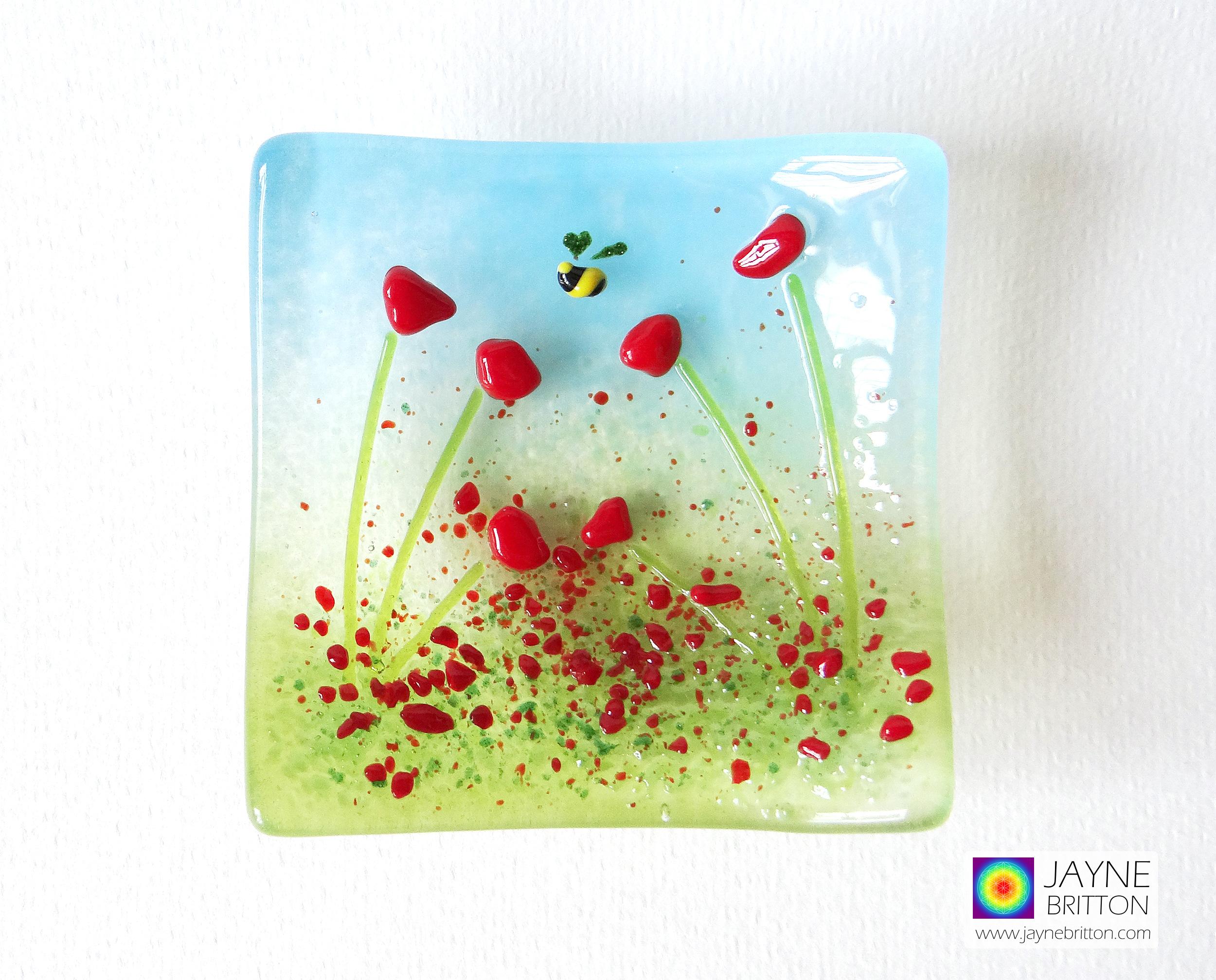 Red poppy trinket dish, poppy field design, cottage garden, ring dish