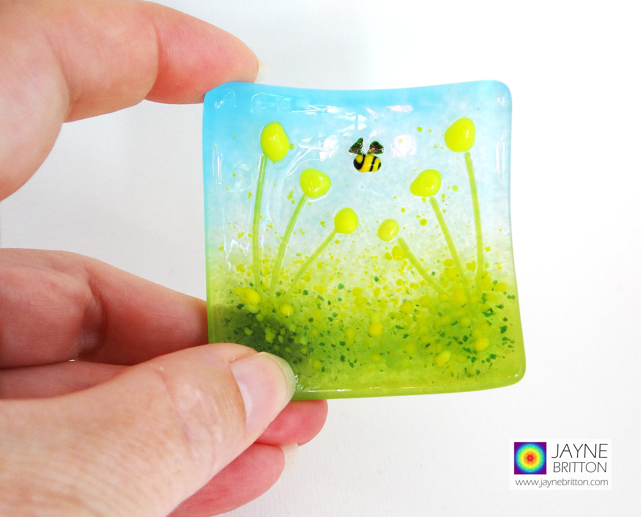 Yellow flower bowl - cottage garden design - handmade textured ring dish, trinket dish