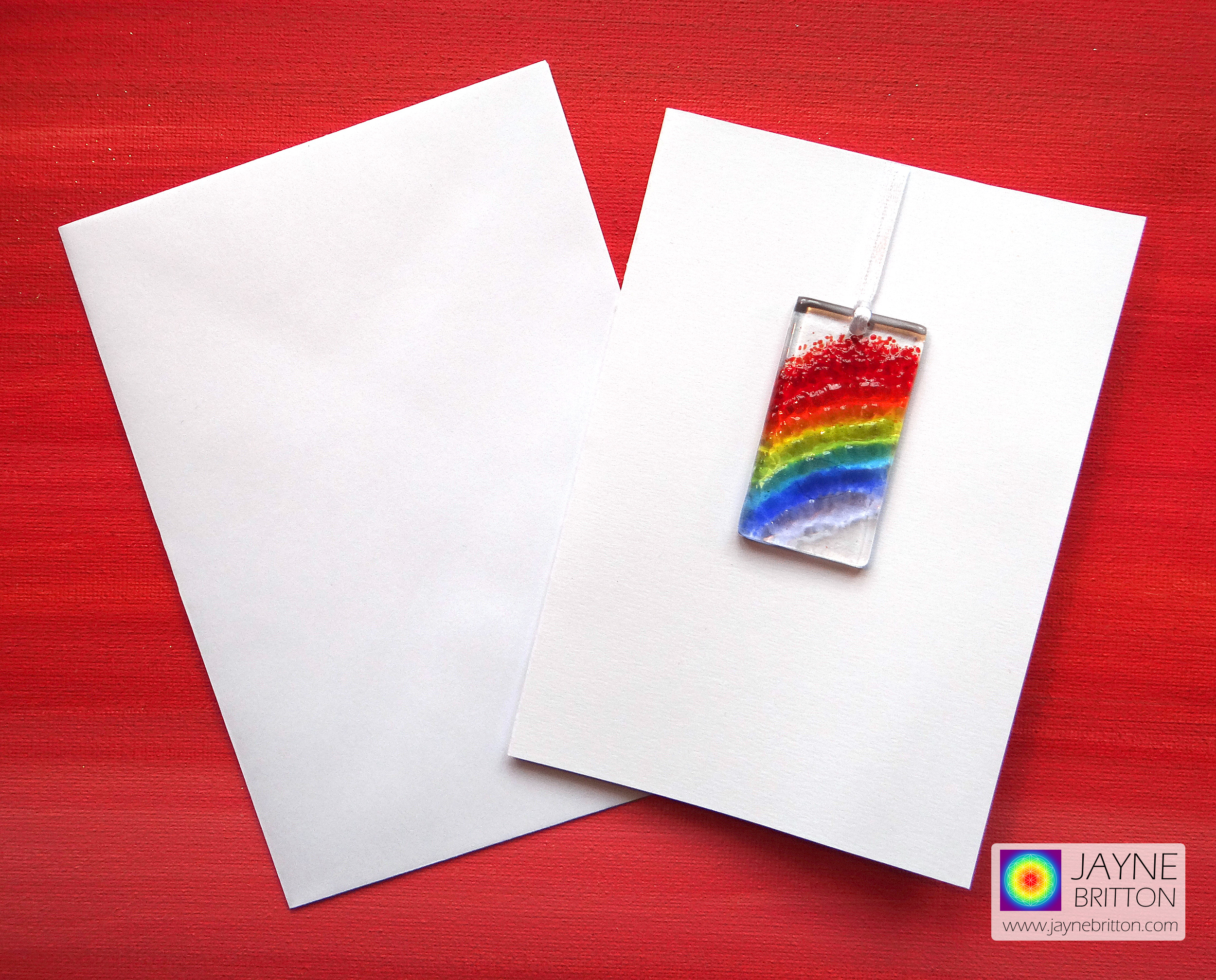 Greeting card with gift - fused glass rainbow light catcher