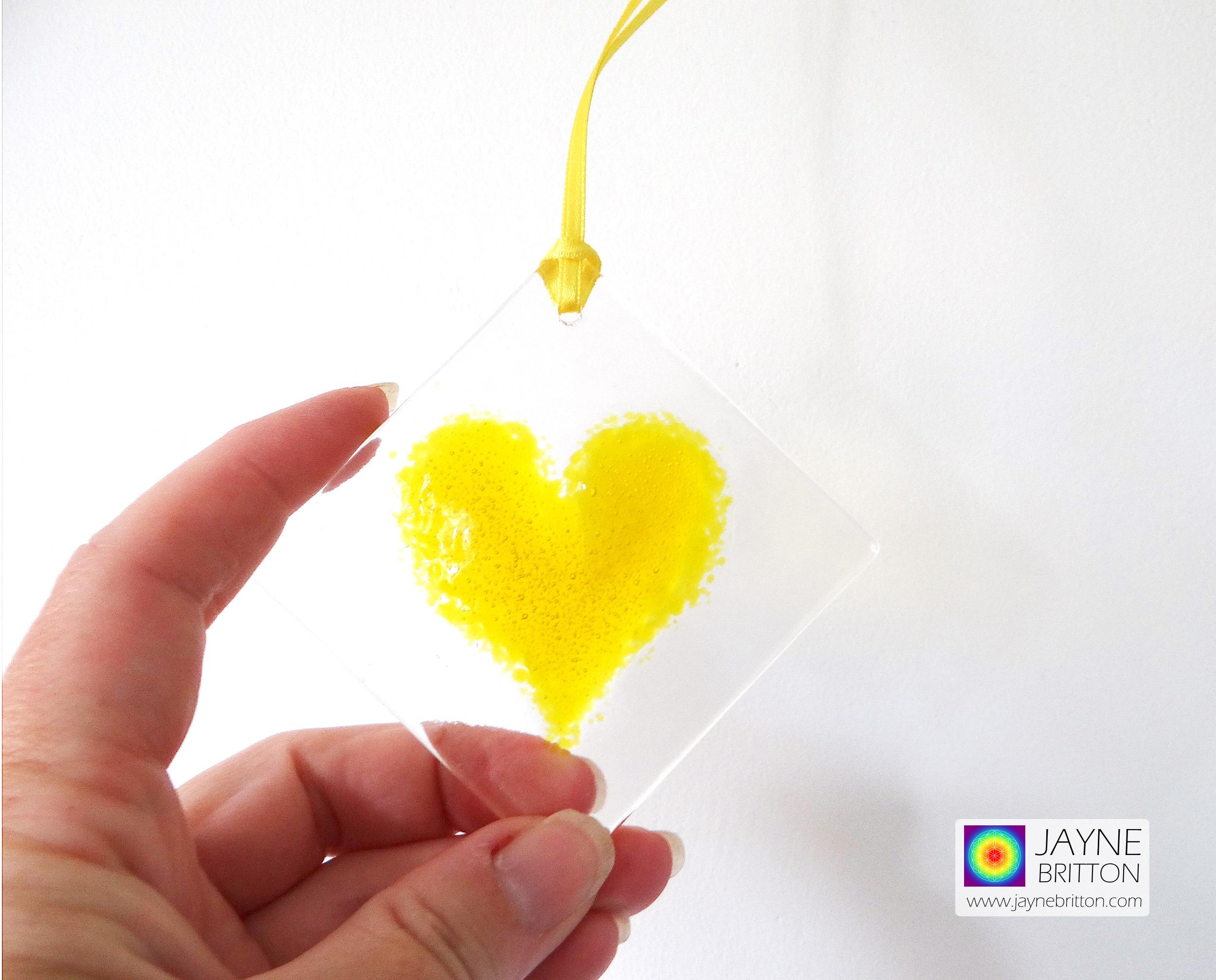 Yellow heart fused glass light catcher - handmade - diamond shape