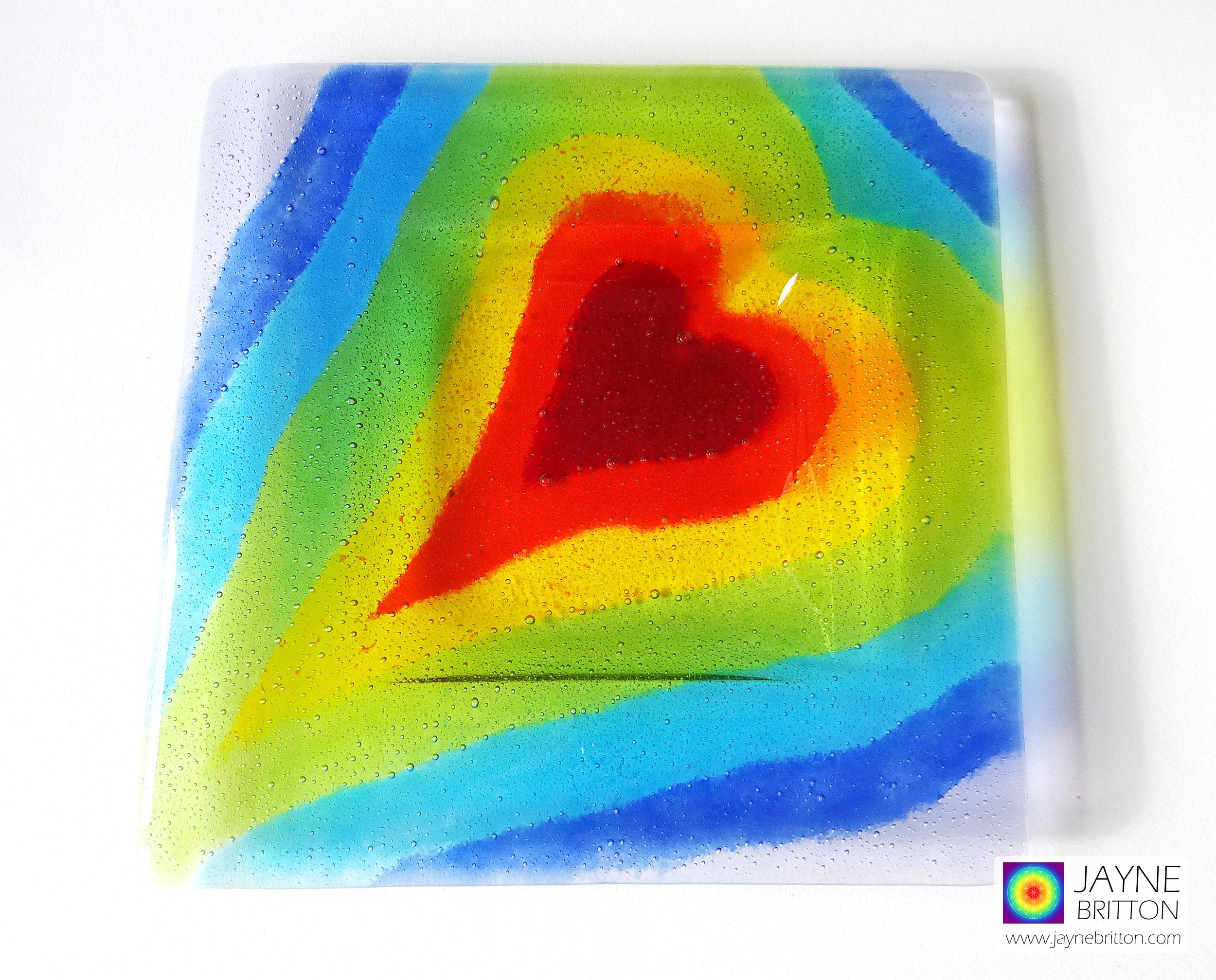 Rainbow heart platter - handmade fused glass