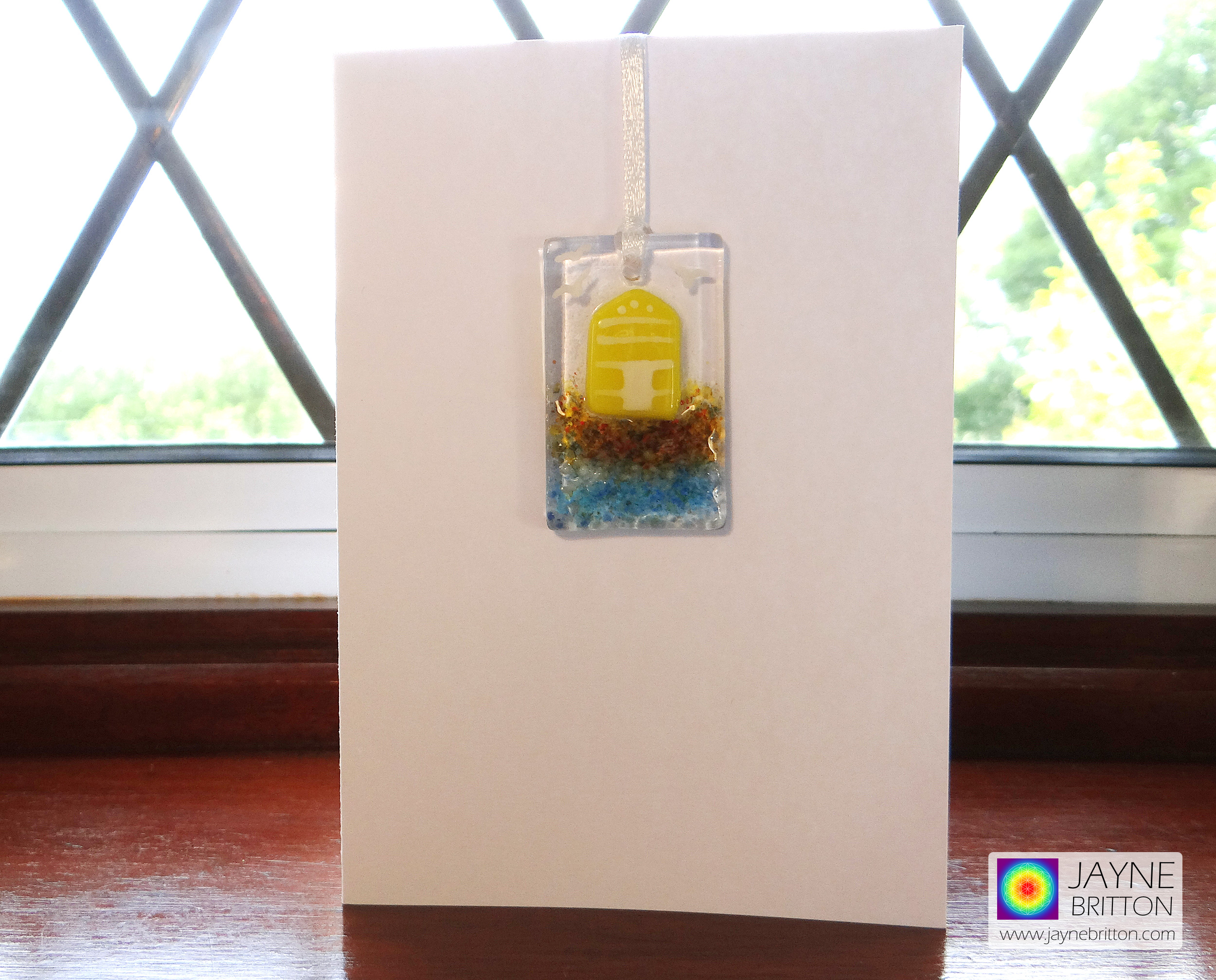 Greeting card with gift - yellow beach hut light catcher, hanging decoration