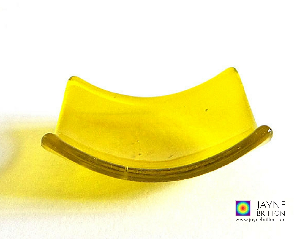 Yellow glass bowl - square - tealight size