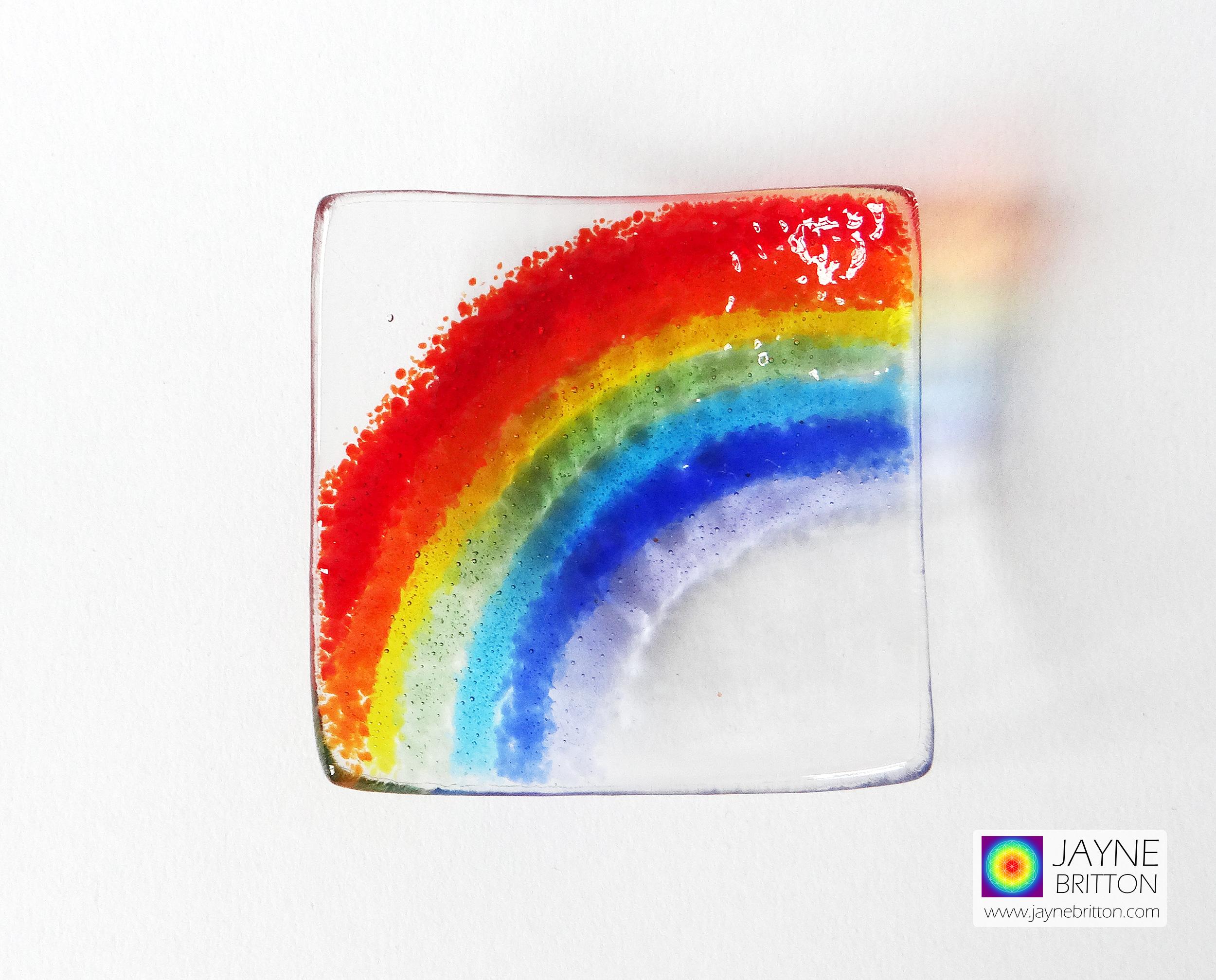 Rainbow, handmade fused glass trinket bowl, ring dish
