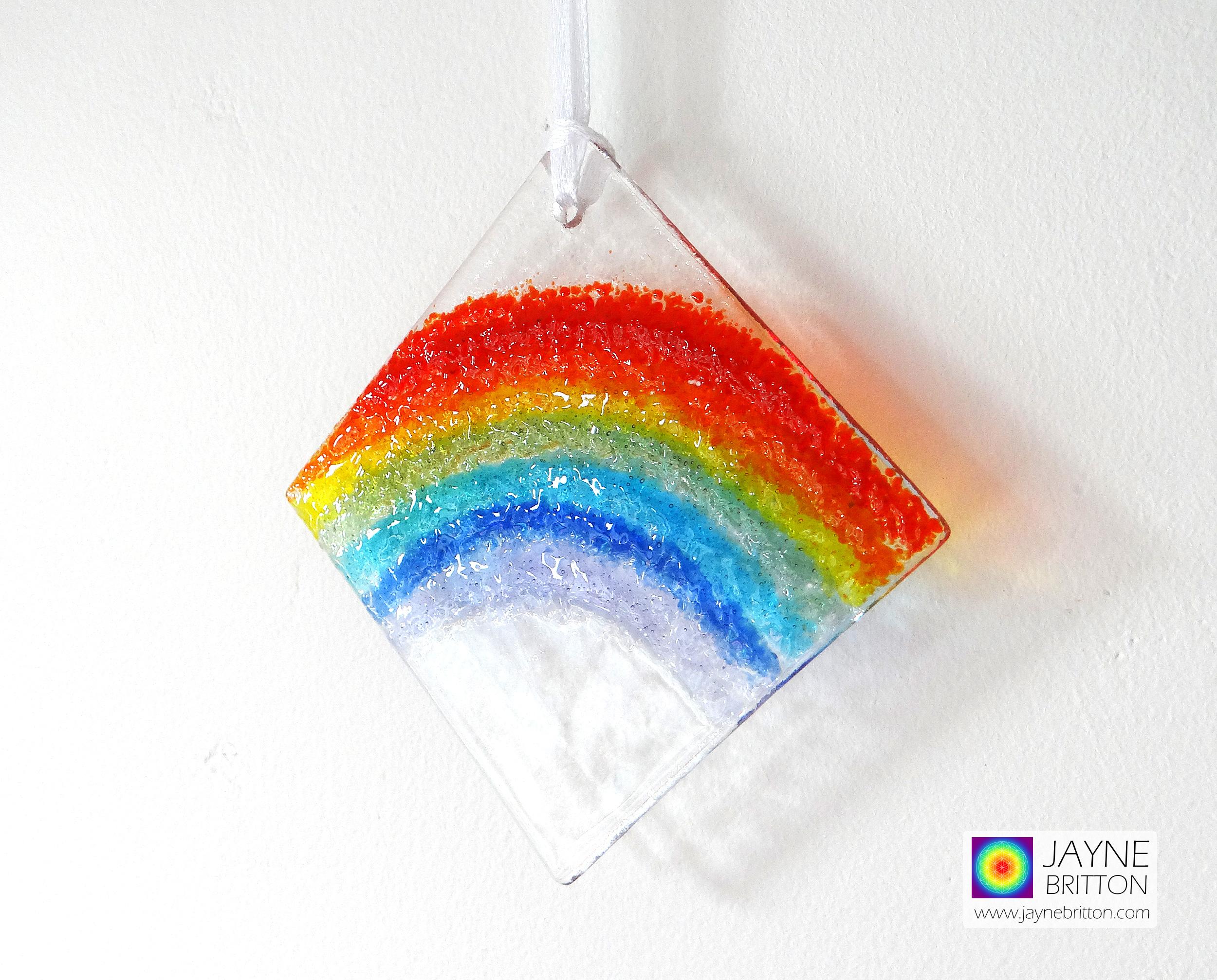 fused glass rainbow light catcher, diamond shape, hanging garden decoration