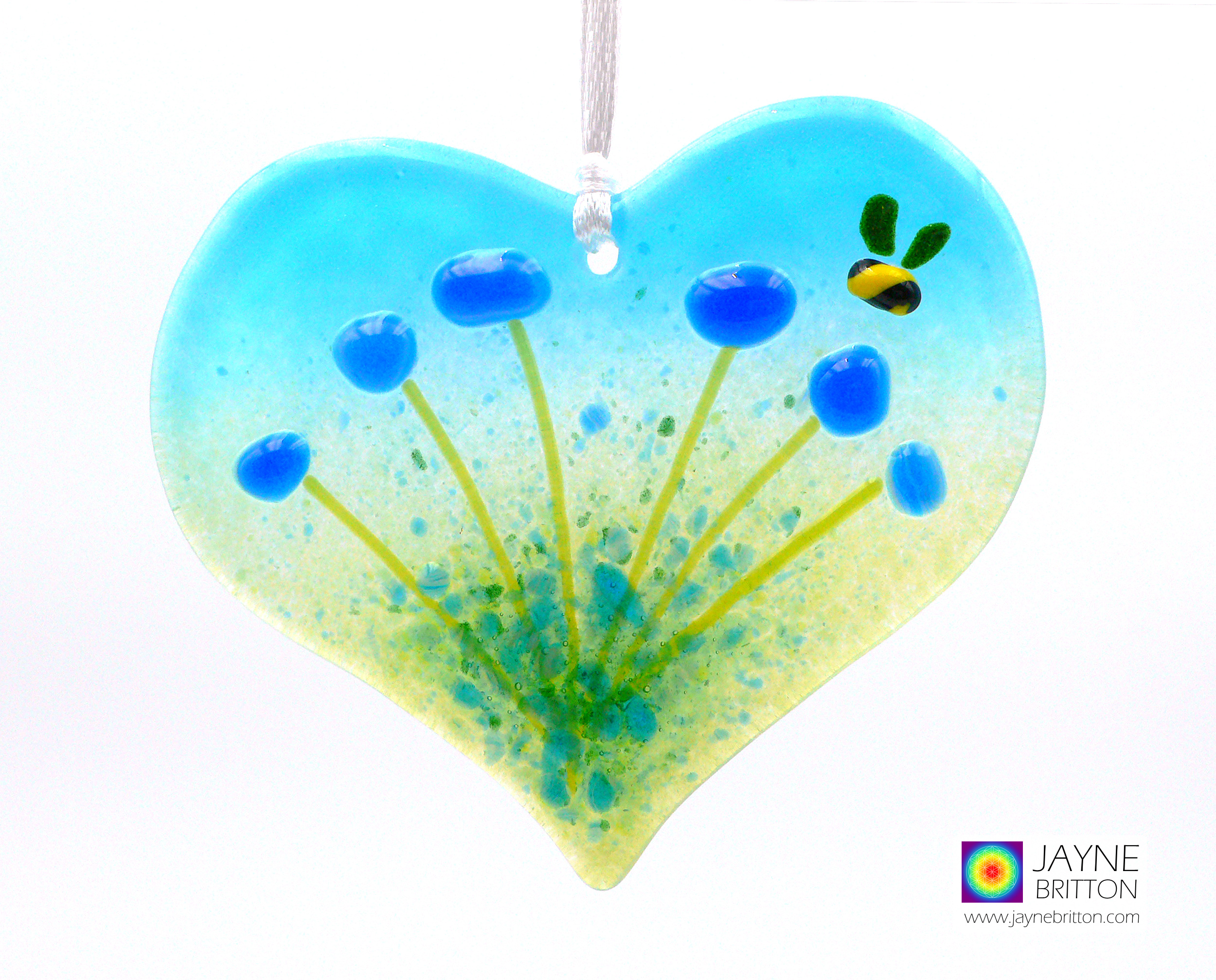 Blue flowers light catcher with bee, heart shaped, hanging decoration, new home gift, summer meadow, sun catcher, uplifting gift