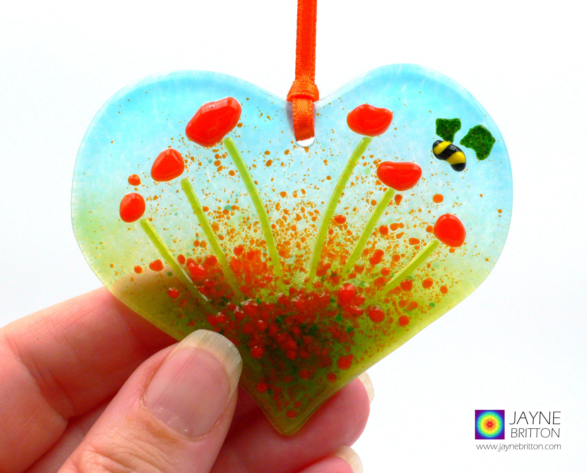Heart shaped fused glass light catcher, orange flowers with bee