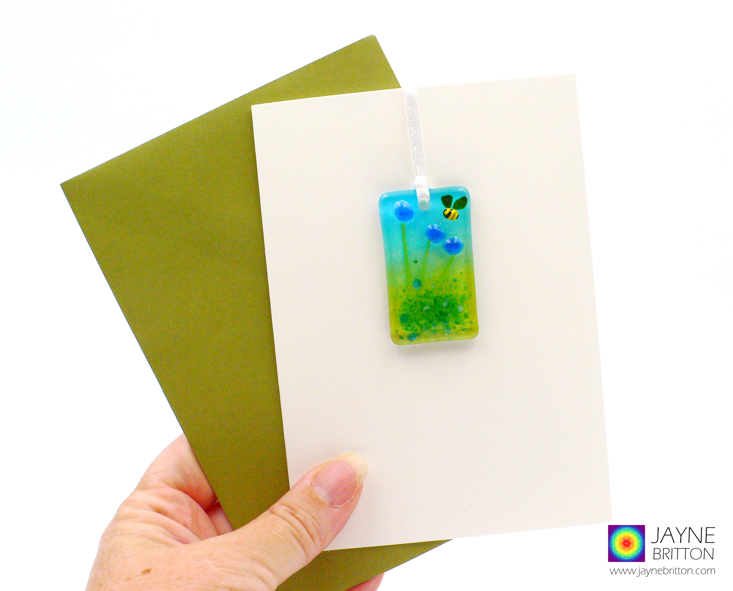 Greeting card with gift - fused glass blue flowers light catcher