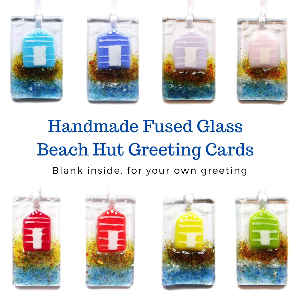 Greeting card with gift, handmade fused glass beach hut light catchers