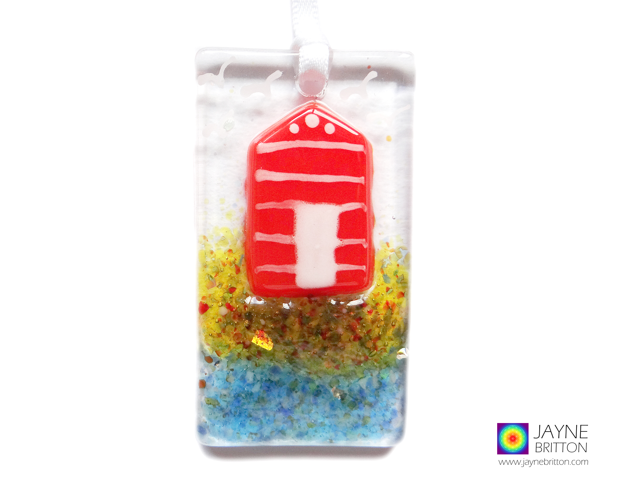 Greeting card with gift, orange and white beach hut, handmade fused glass