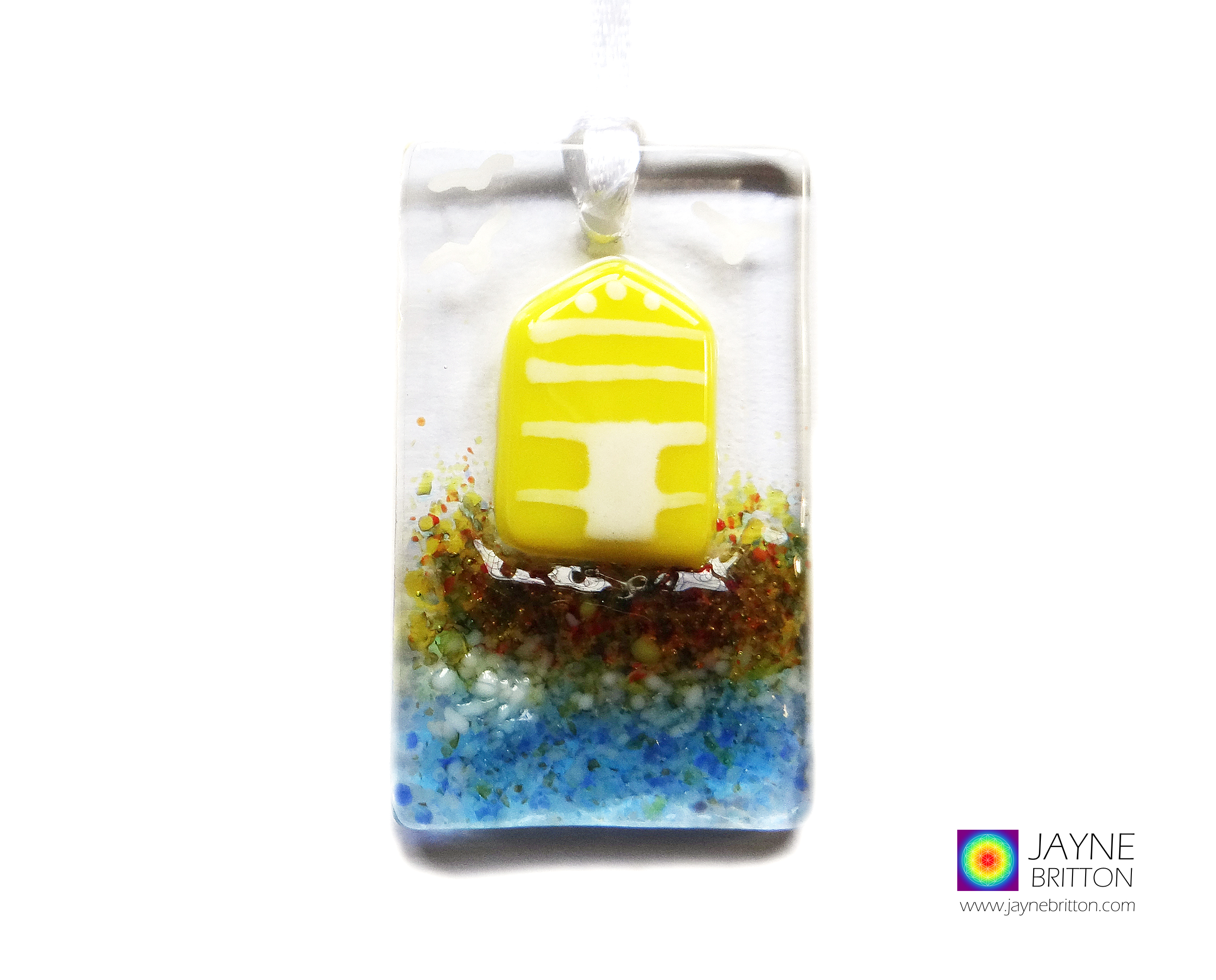 Greeting card with gift, yellow beach hut, handmade fused glass light catcher