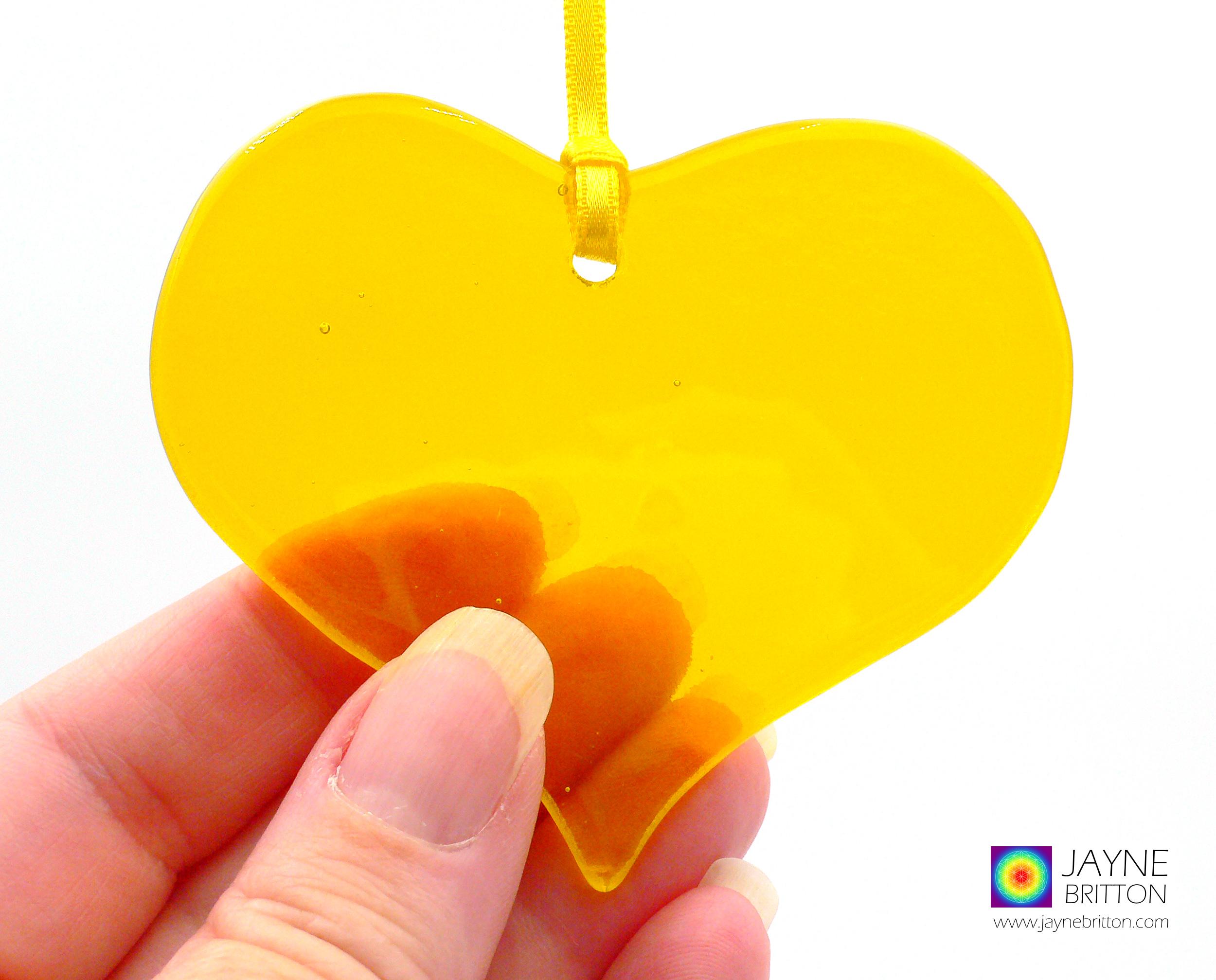 yellow heart, fused glass, light catcher, tree decoration