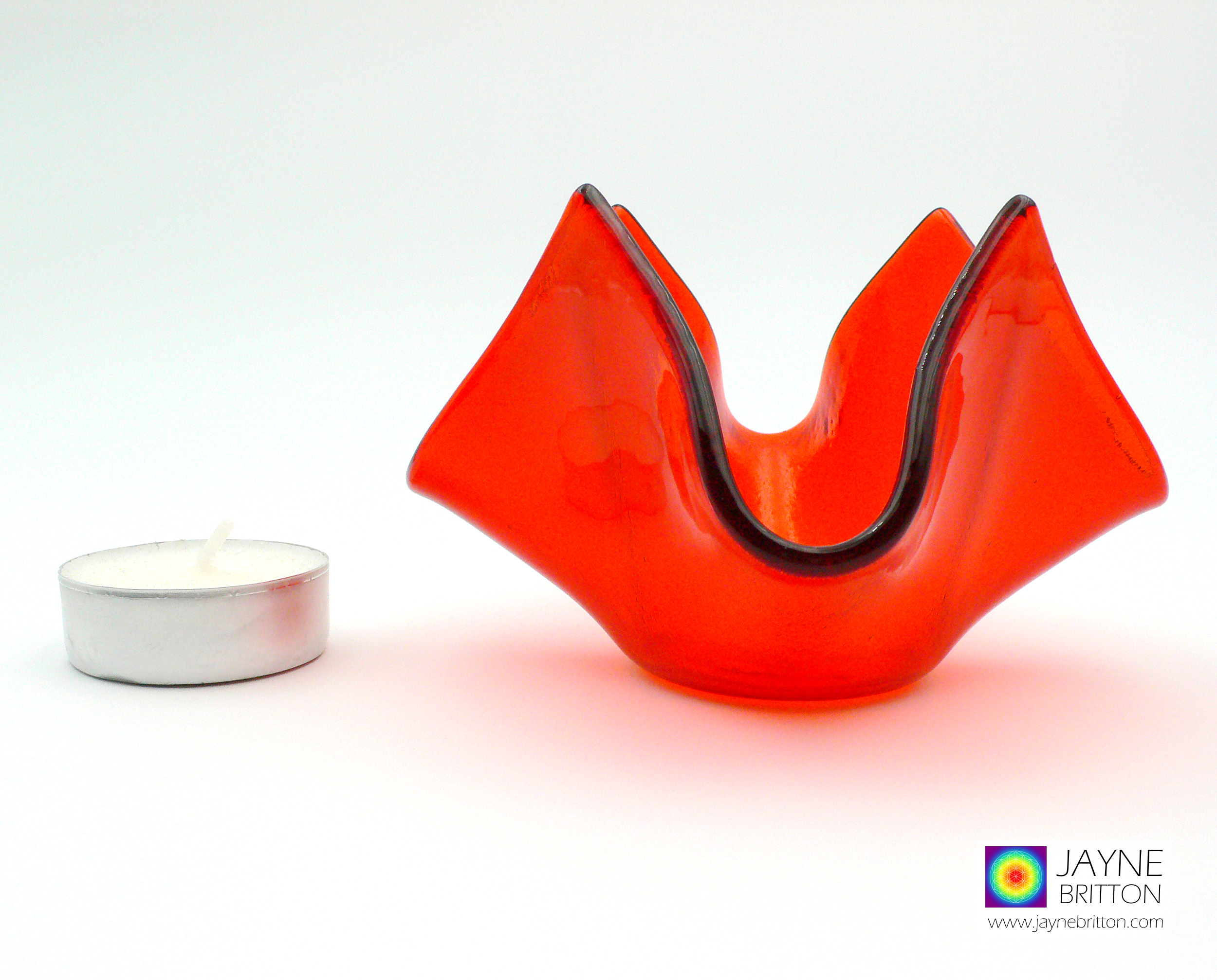 orange tealight candle holder, fused glass bowl, trinket dish