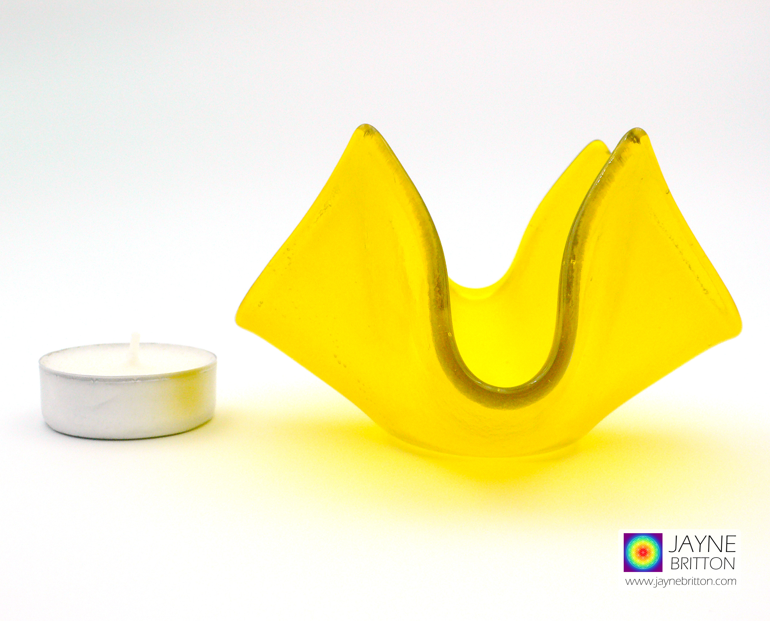 Yellow tealight candle holder, yellow crystal bowl, trinket bowl, fused glass dish