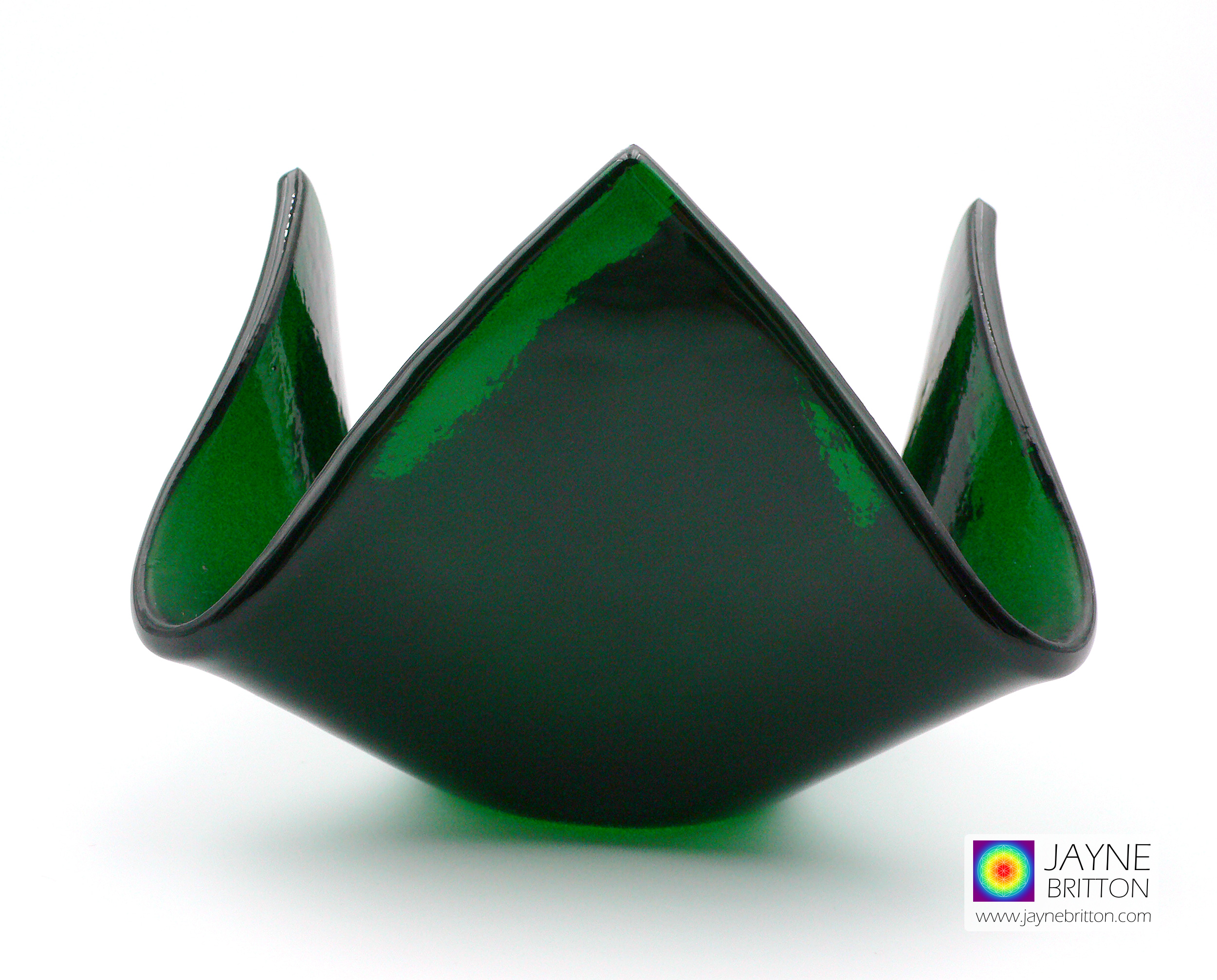 Deep green tealight candle holder, fused glass crystal bowl, trinket dish