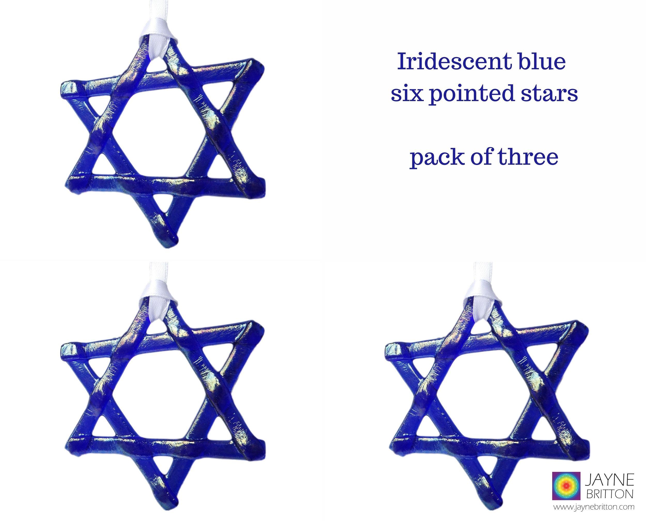 Iridescent indigo blue star, light catcher, hanging decoration