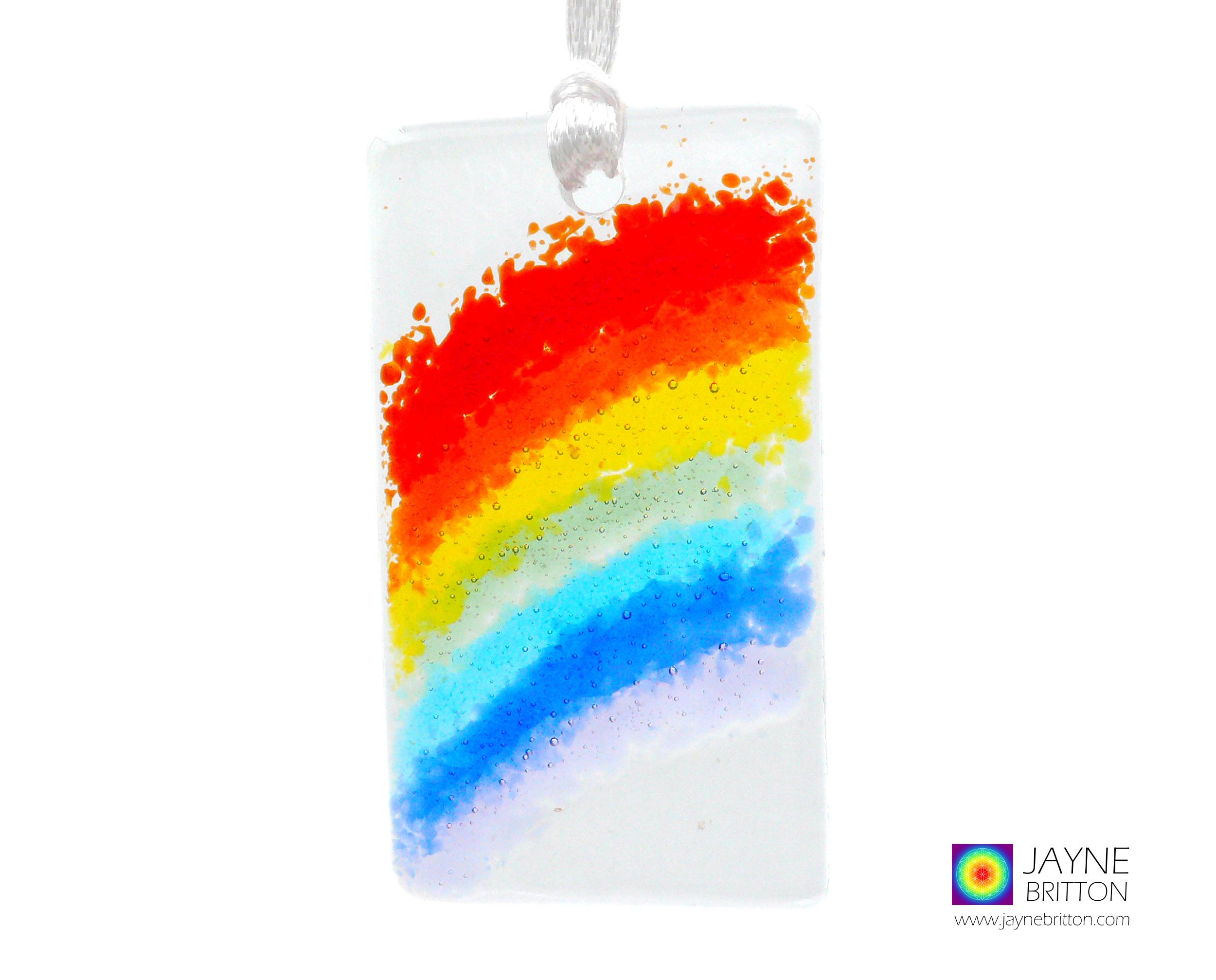 Mini Rainbow light catcher, handmade fused glass, keepsake, any occasion, Thank you, birthday, sympathy, gift, tree decoration hanging decor
