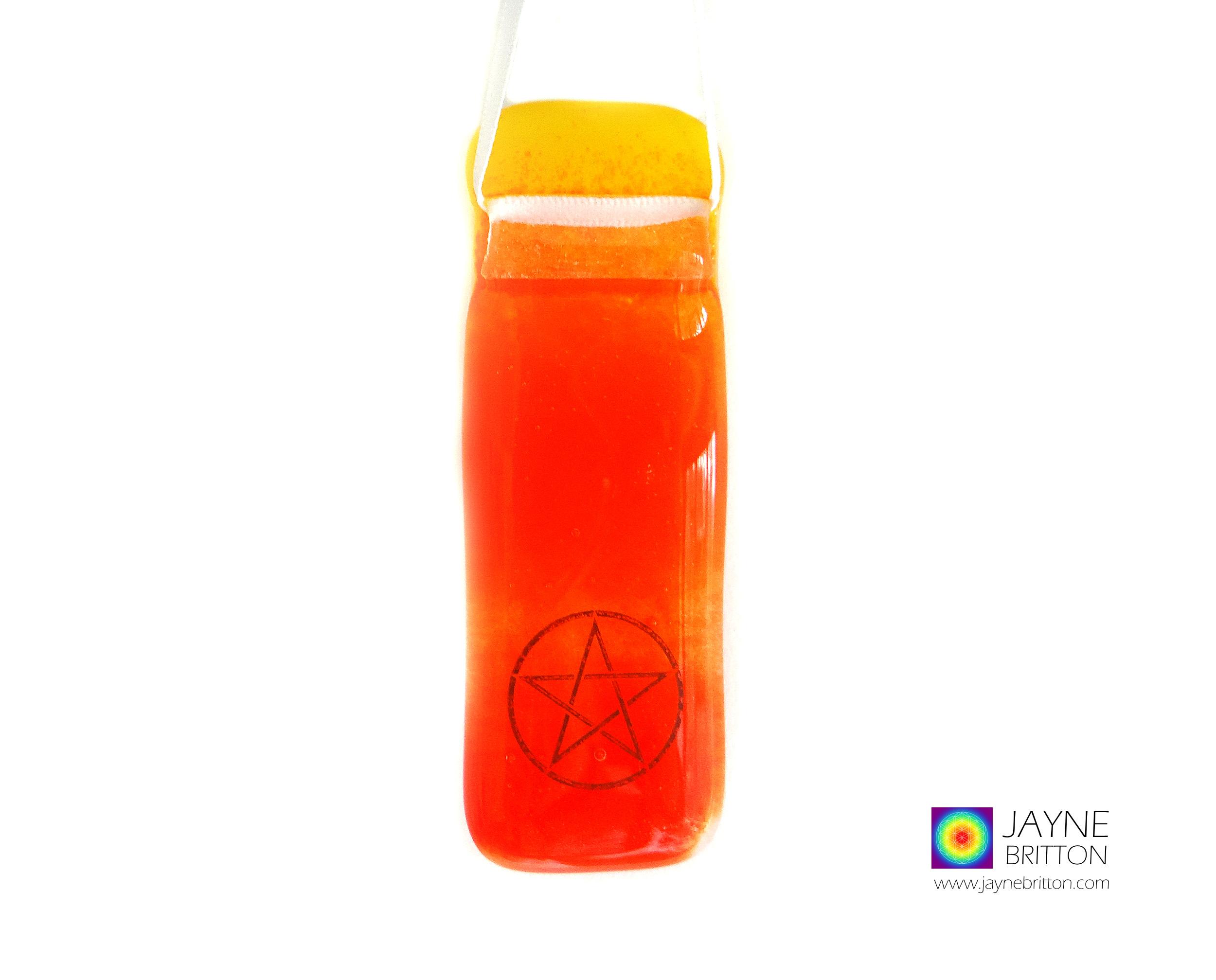 Pentacle light catcher, fused glass suncatcher, symbol, symbolic, healing, meditation, window hanging, witchcraft, wicca, magical symbol